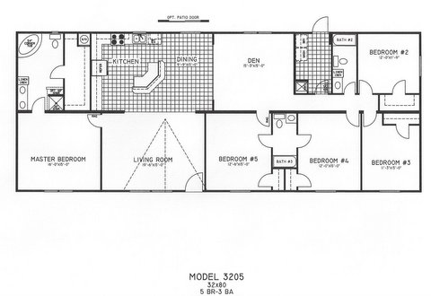 5 bedroom floor plan c 3205 hawks homes manufactured for Modular homes 5 bedroom floor plans