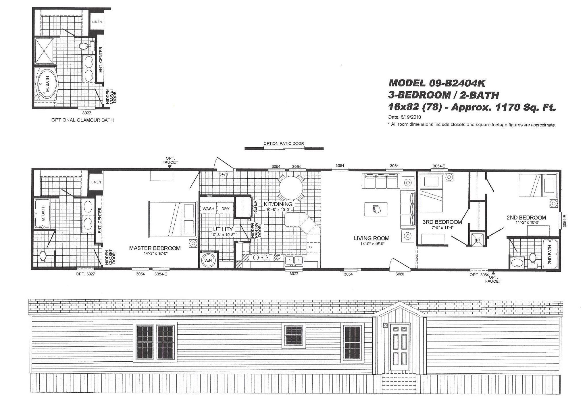 3 bedroom floor plan 2404 hawks homes manufactured u0026 modular