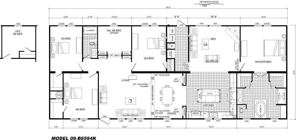 4 bedroom floor plan b 6594 hawks homes manufactured for Modular homes plans with 2 master suites