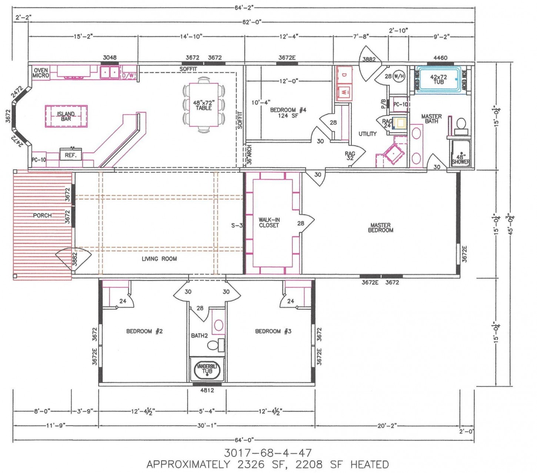 4 Bedroom Floor Plan: F-3017 - Hawks Homes | Manufactured ...