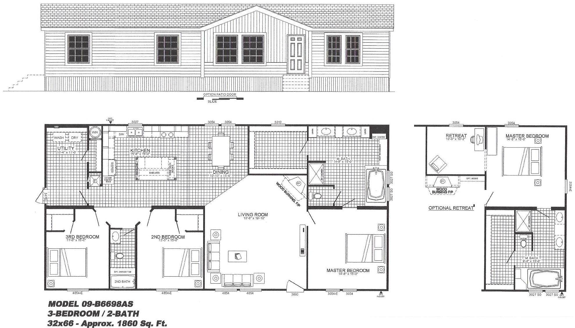 Bedroom 2 Bath Home Floor Plans Likewise 5 Bedroom Mobile Home Floor