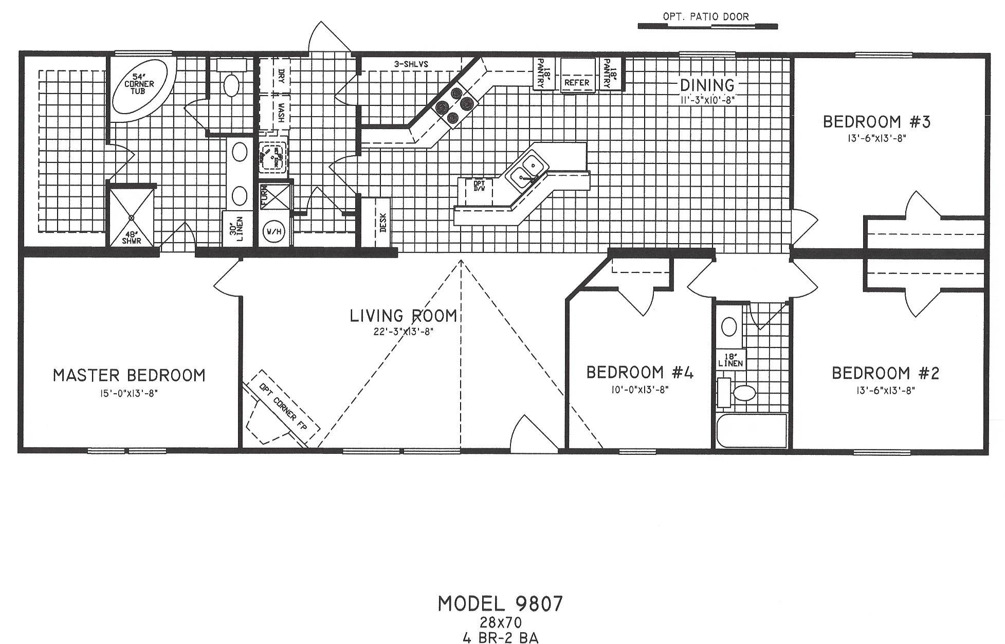 4 bedroom floor plan c 9807 hawks homes manufactured for Floor plans for a 4 bedroom 2 bath house
