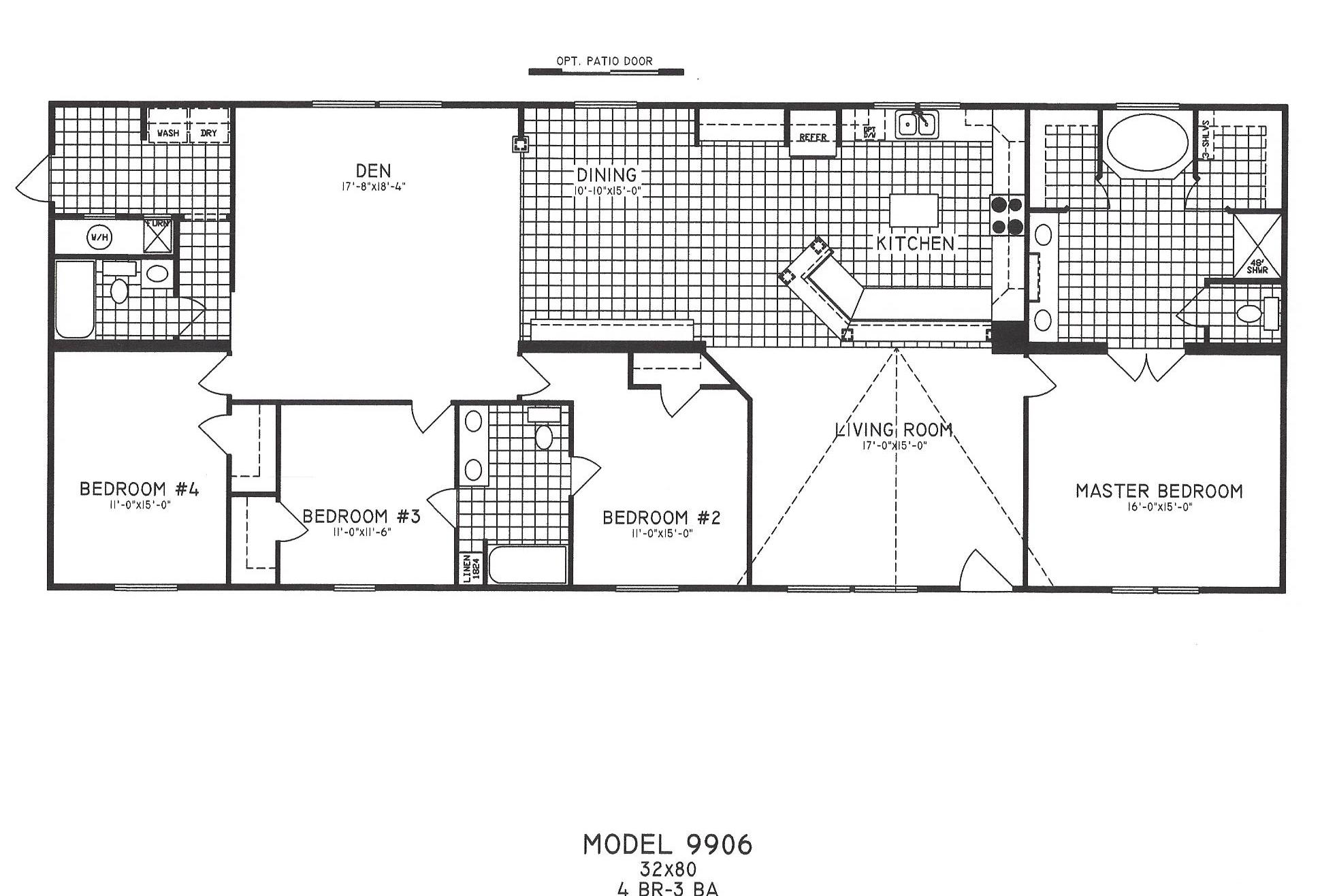 4 Bedroom Floor Plan C9906 Hawks Homes – Bryant Homes Floor Plans