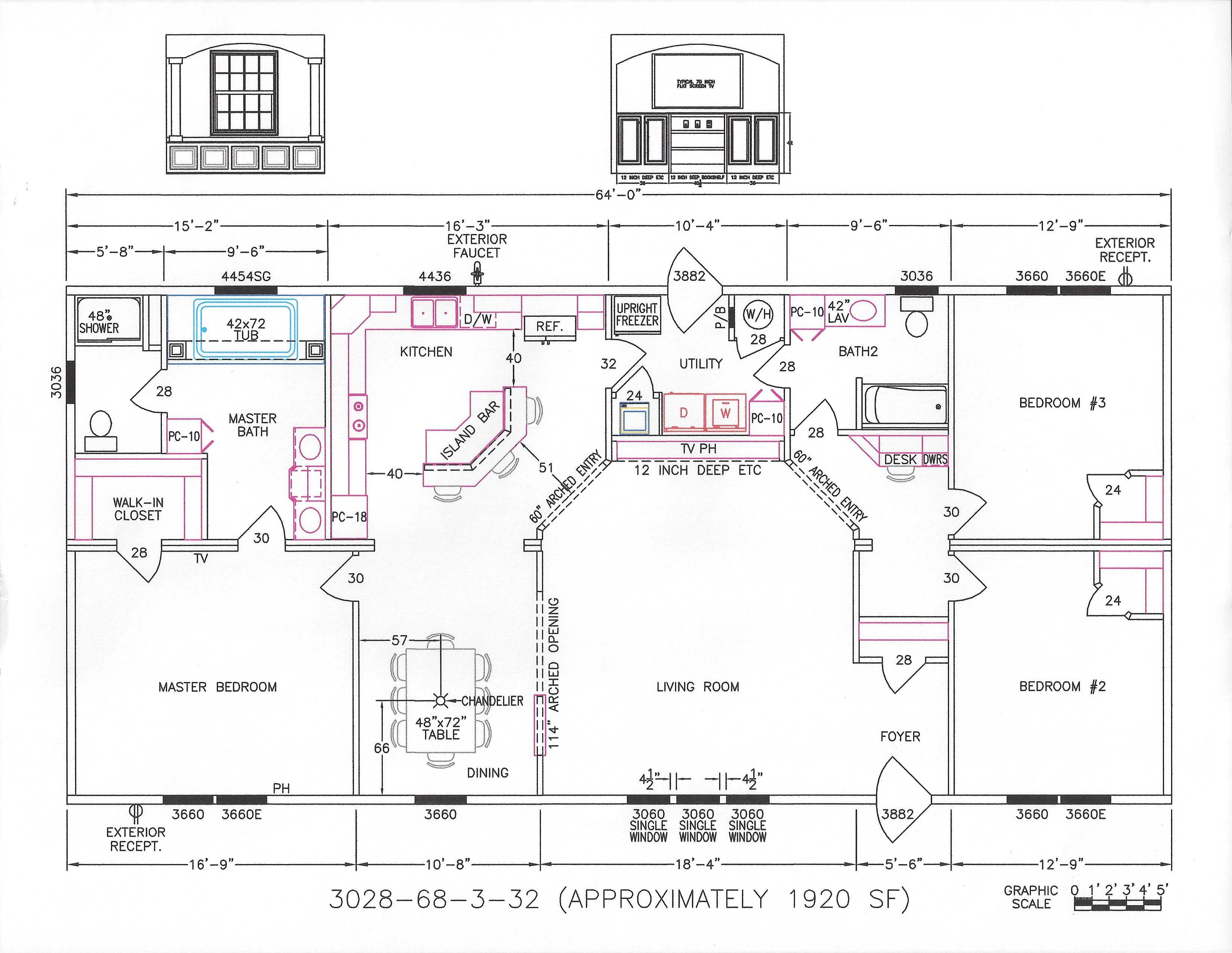 3 bedroom floor plan f 3028 hawks homes manufactured for Arkansas house plans