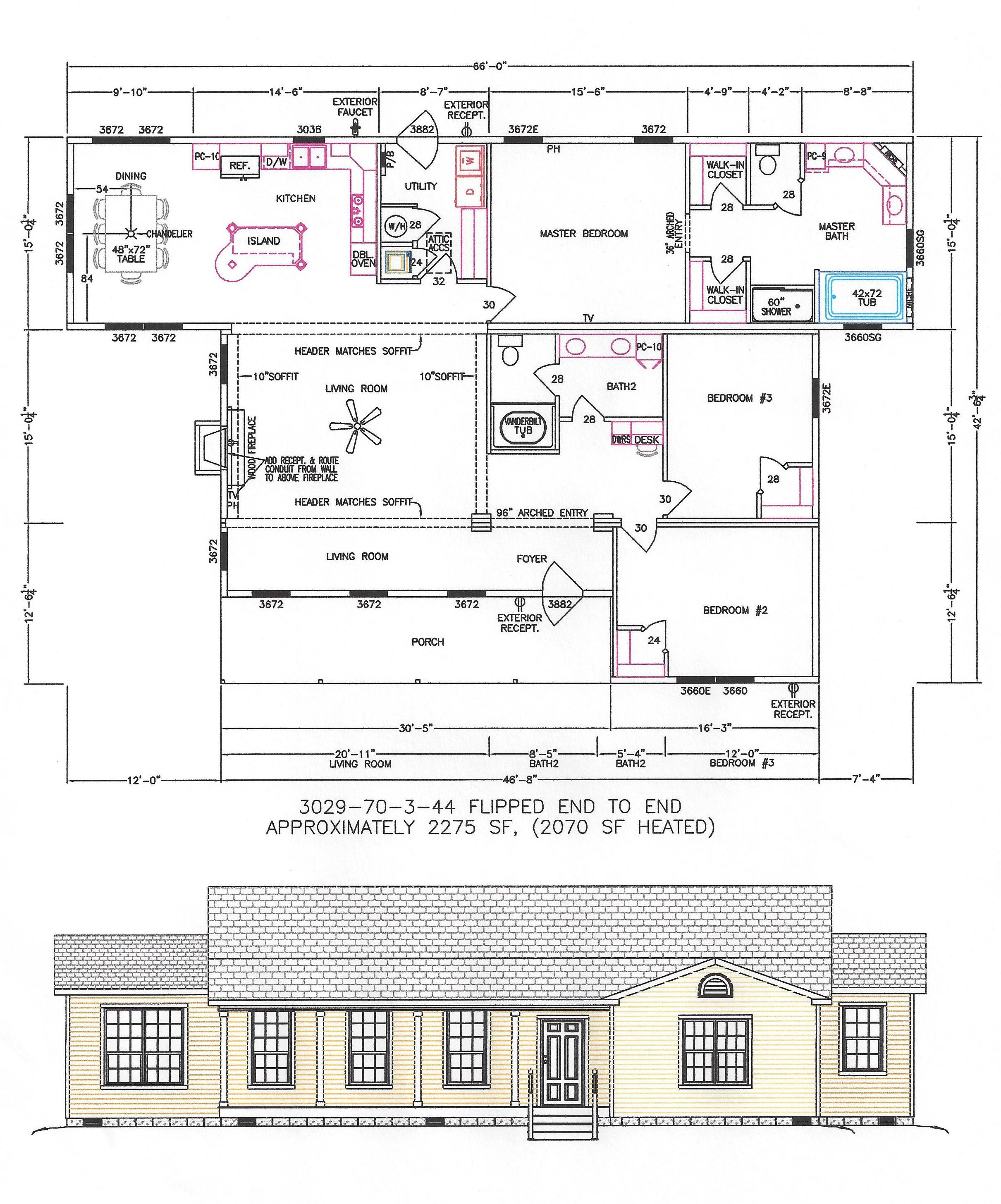 3 bedroom floor plan f 3029 hawks homes manufactured for Homes and floor plans