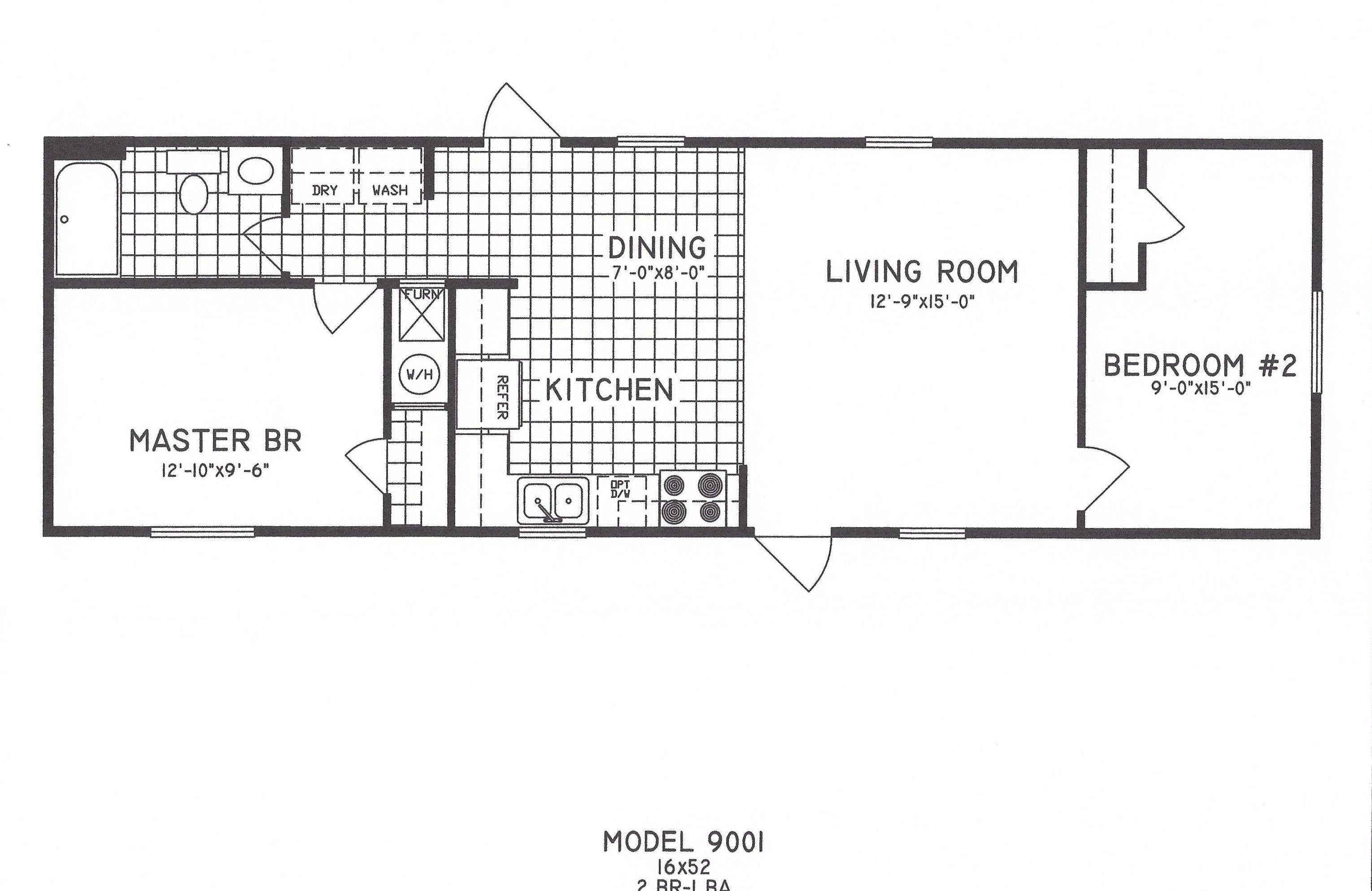 2 bedroom floor plan c 9001 hawks homes manufactured for Two bedroom plan