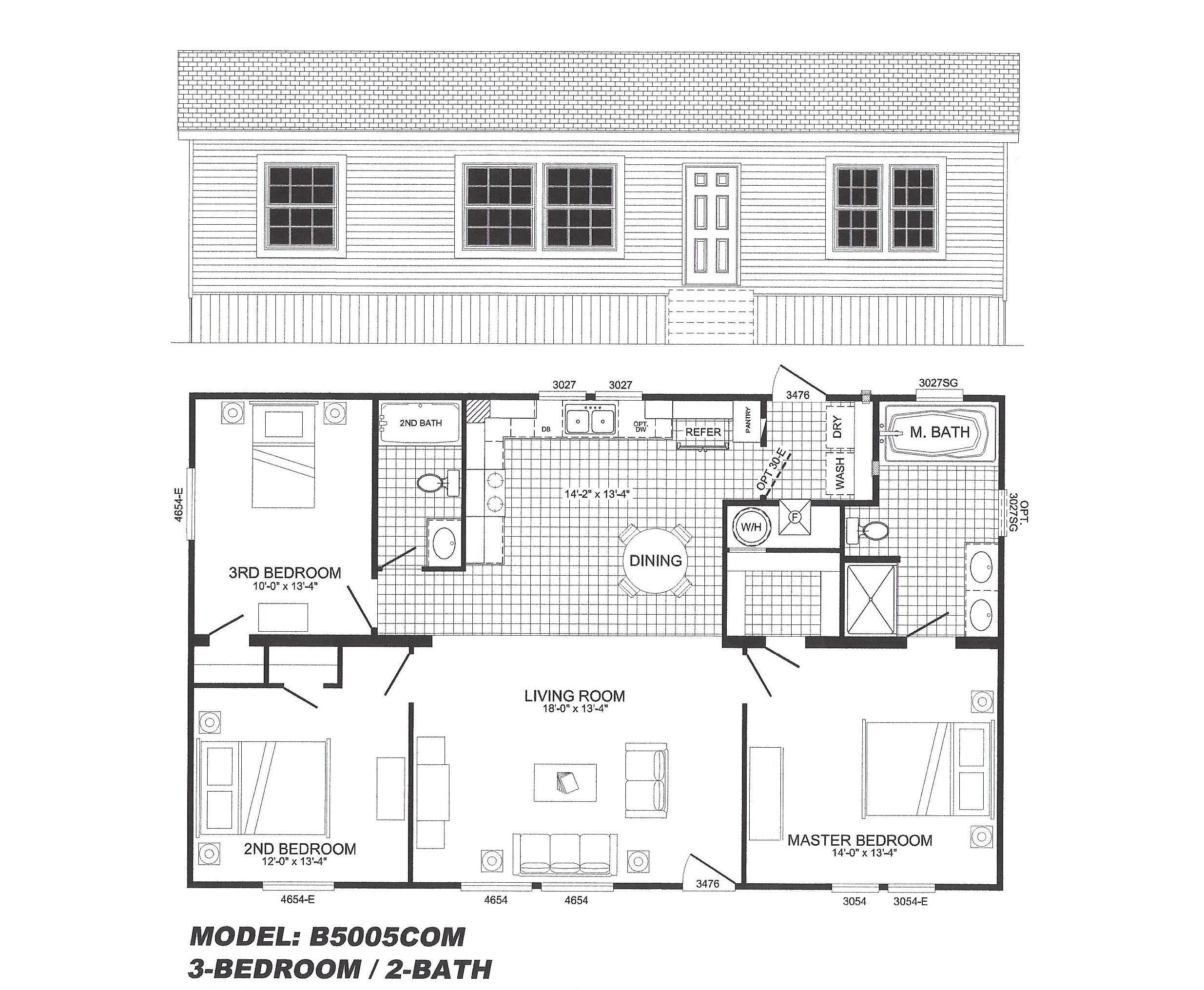3 bedroom floor plan b 5005 hawks homes manufactured for 3 bedroom floor plans