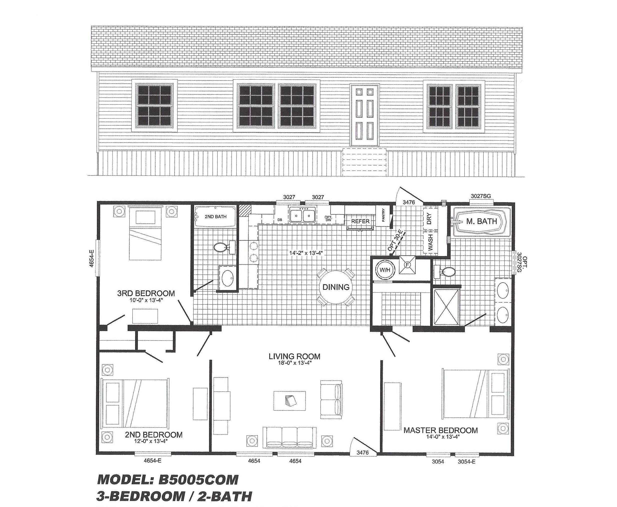 5 Bedroom Modular Homes Floor Plans 3 Bedroom Floor Plan B 5005 Hawks Homes Manufactured