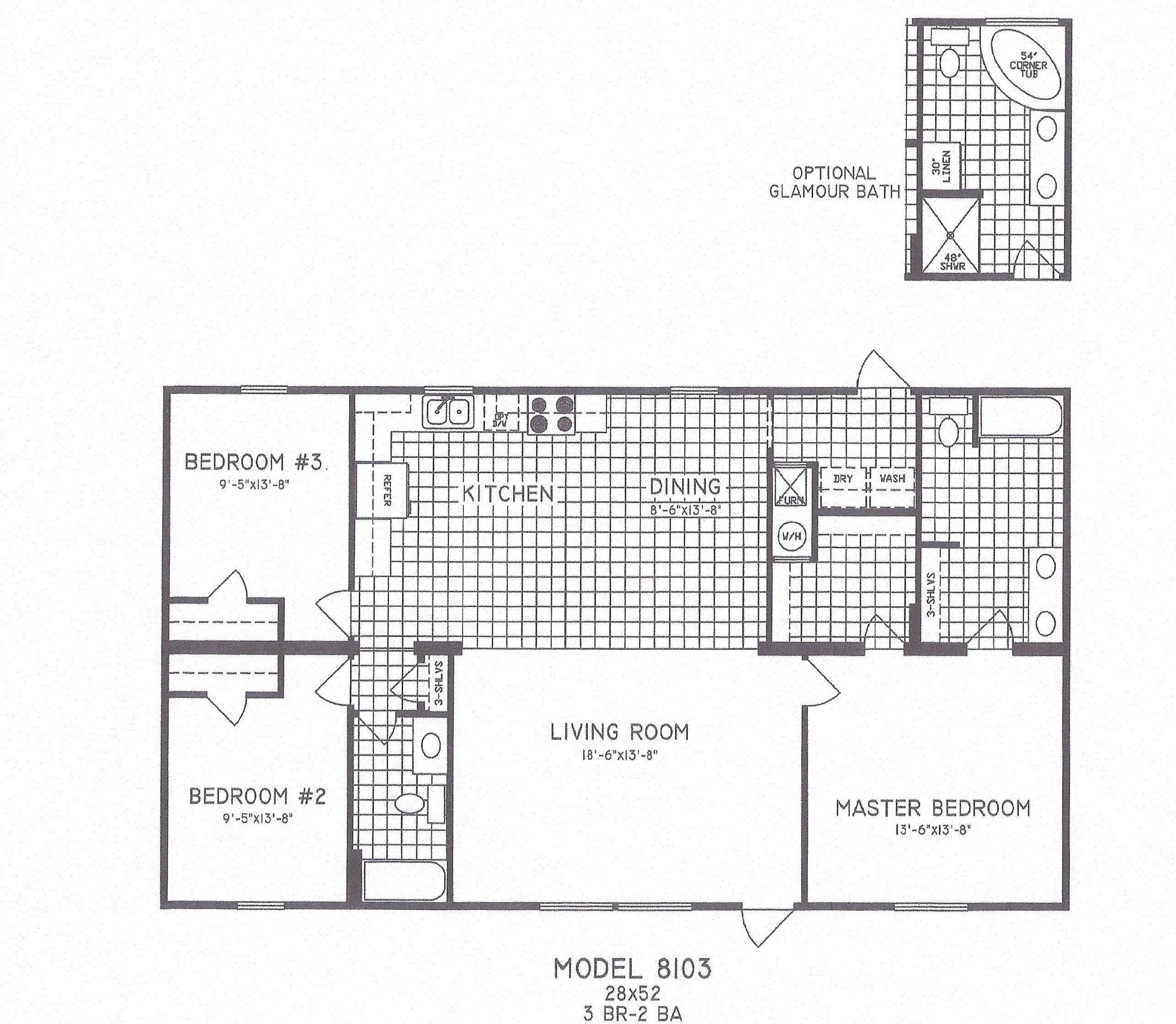 Three Bedroom Mobile Home Floor Plans: 3 Bedroom Floor Plan C-8103 - Hawks Homes