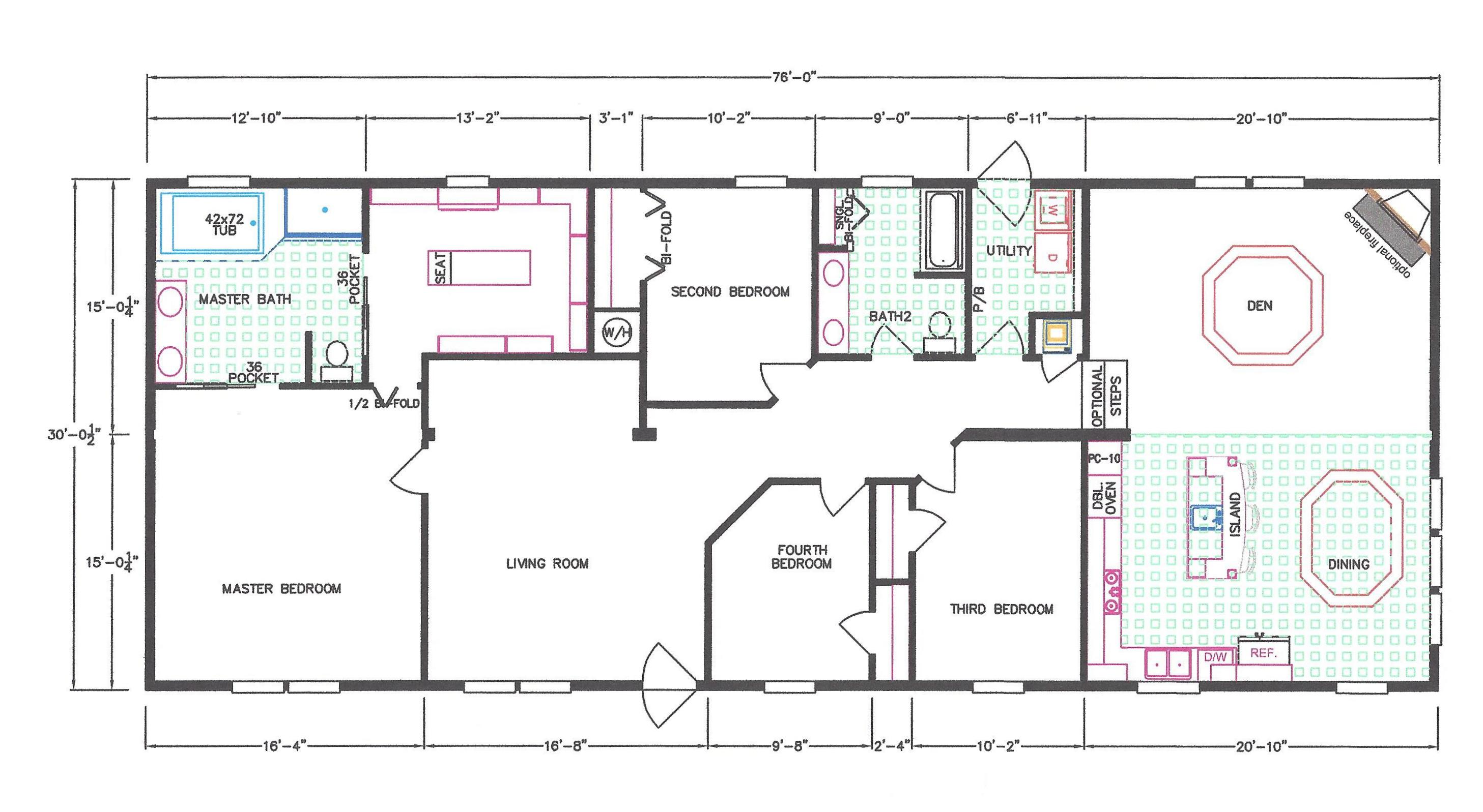 4 bedroom floor plan f 663 hawks homes manufactured for 4 bedroom mobile home floor plans