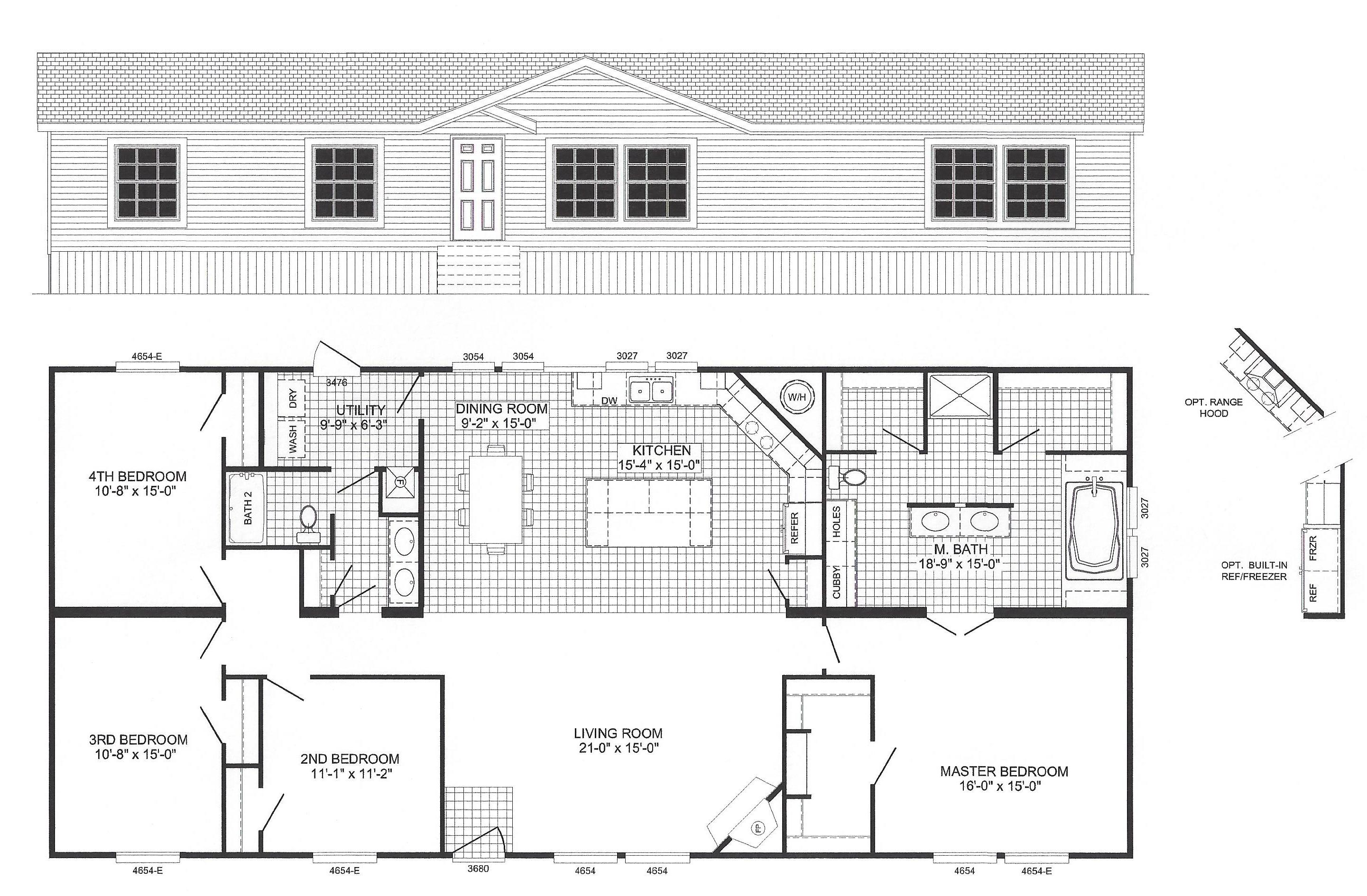 4 bedroom floor plan b 6012 hawks homes manufactured for Standard 3 bedroom house plans