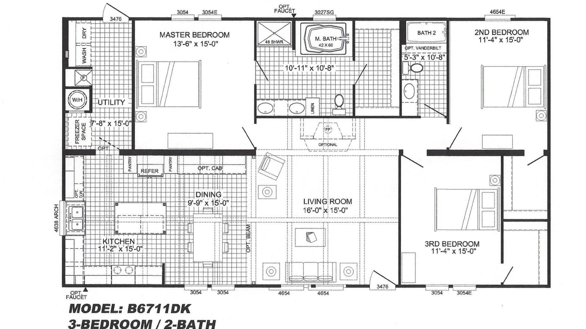 3 bedroom floor plan b 6711 hawks homes manufactured for Arkansas house plans