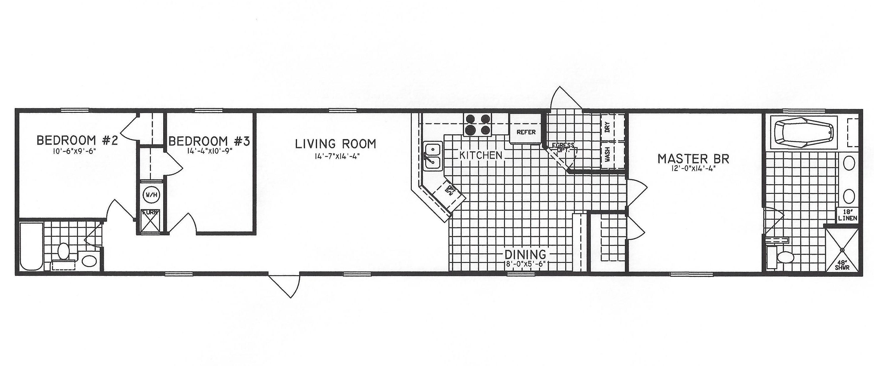 3 bedroom floor plan c 1302 hawks homes manufactured for Arkansas house plans