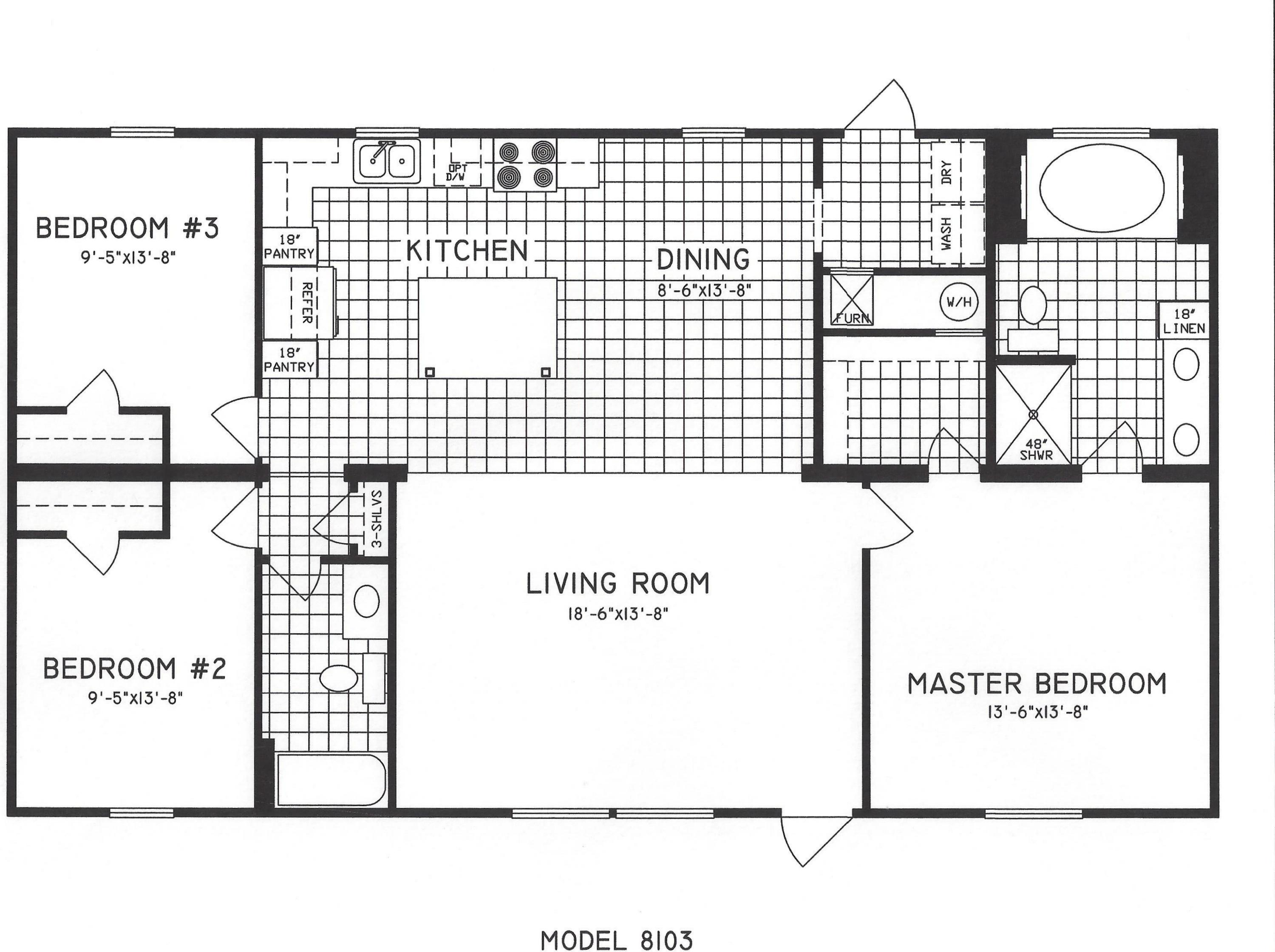3 bedroom floor plan c 8103 hawks homes manufactured for Two kitchen house plans