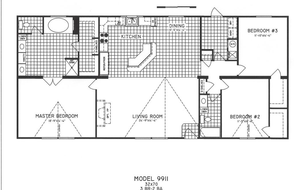 3 Bedroom Floor Plan C 9911 Hawks Homes Manufactured