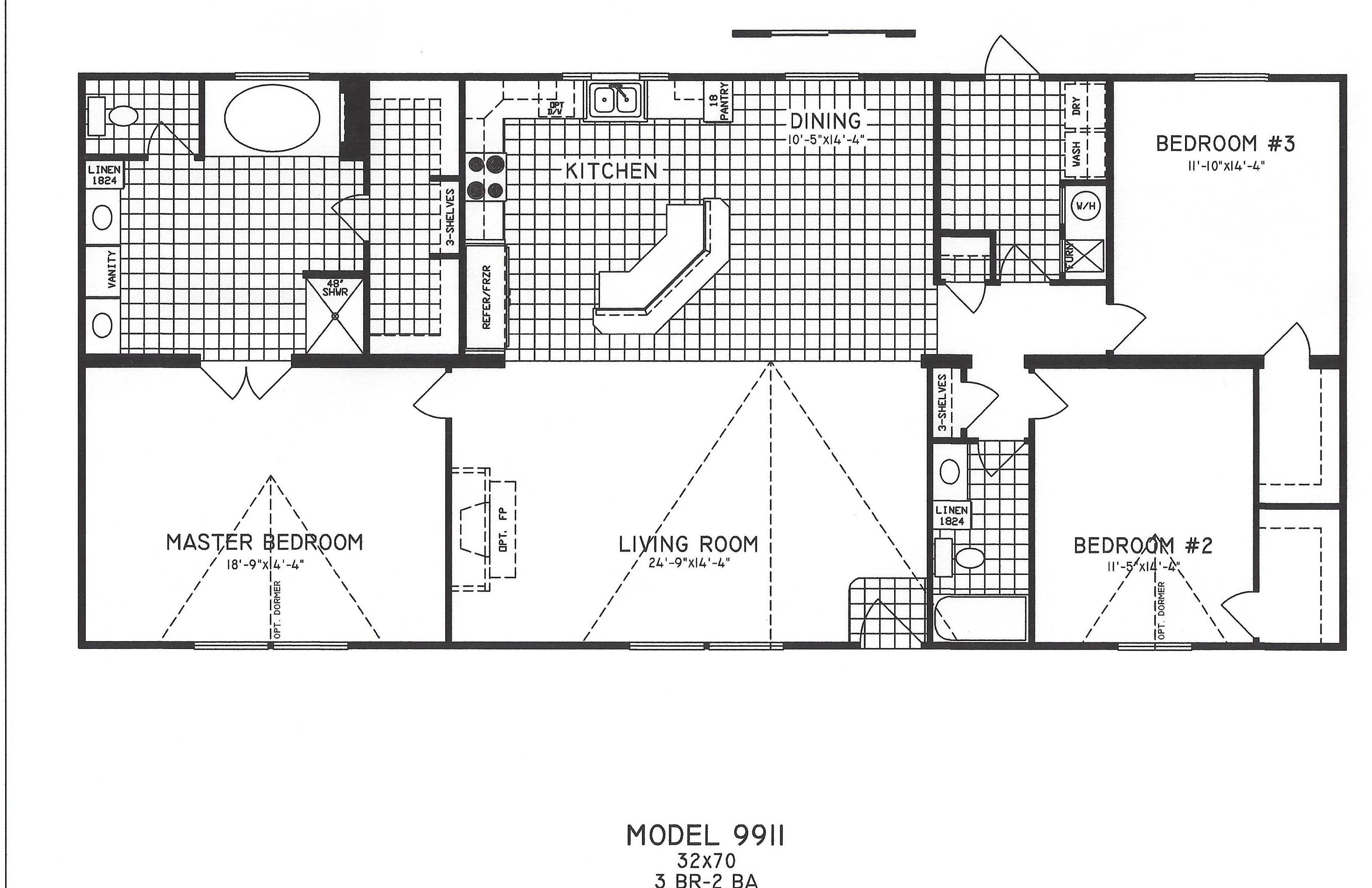 3 bedroom floor plan c 9911 hawks homes manufactured for Bedroom floor plans