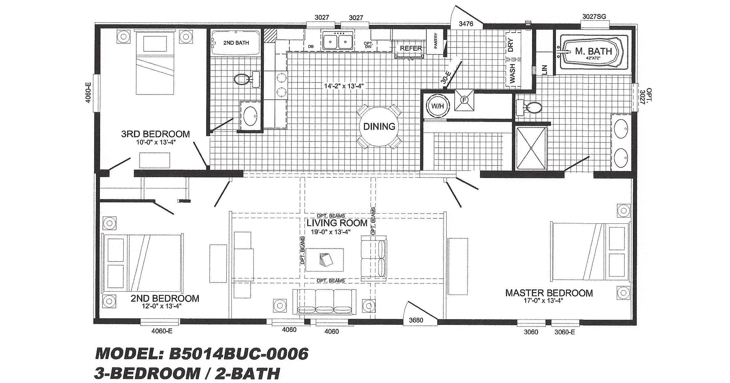 3 bedroom floor plan b 5006 hawks homes manufactured 3 bedroom modular home floor plans