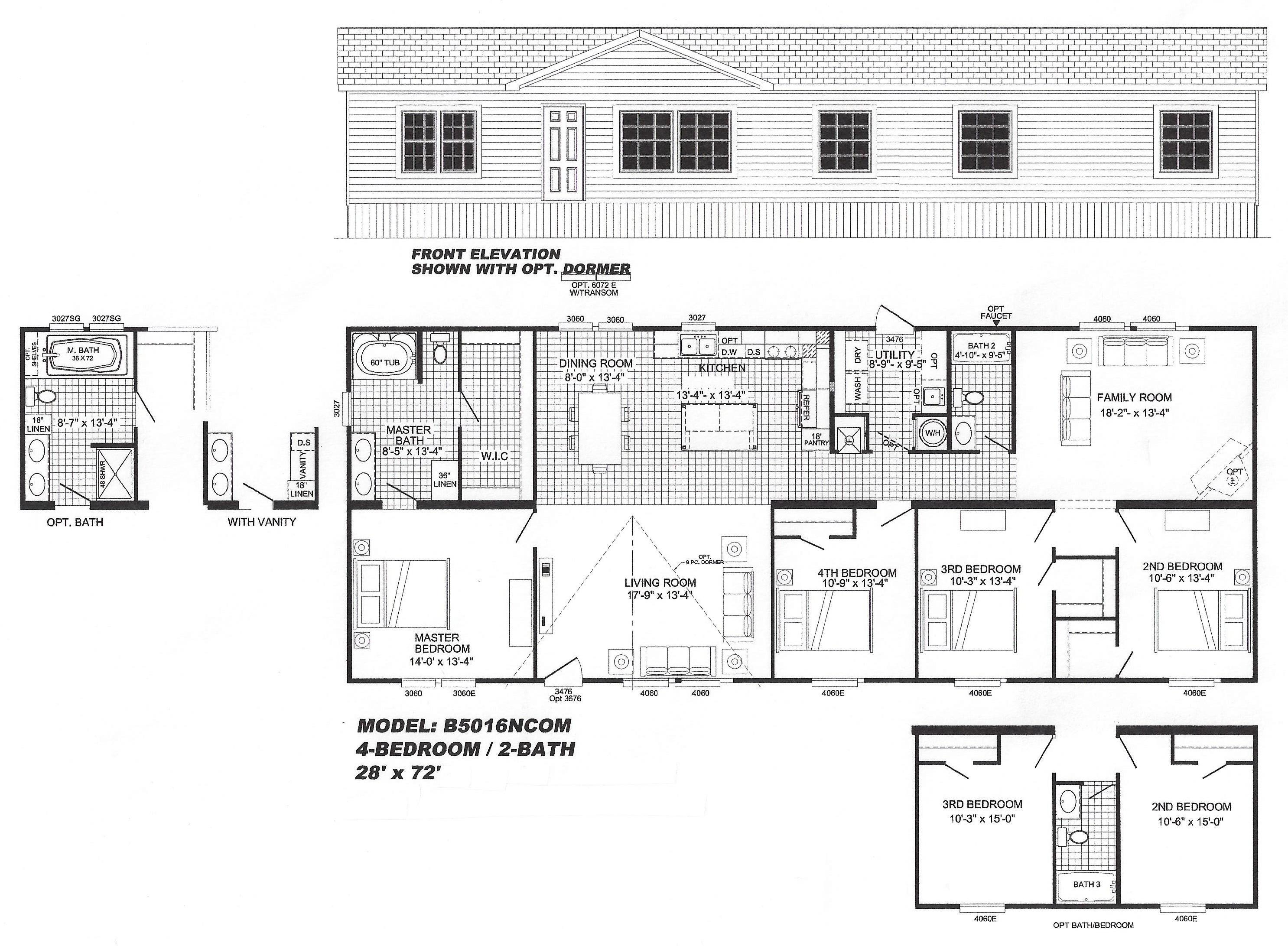 4 bedroom floor plan b 5016 hawks homes manufactured for 1 bedroom mobile home floor plans