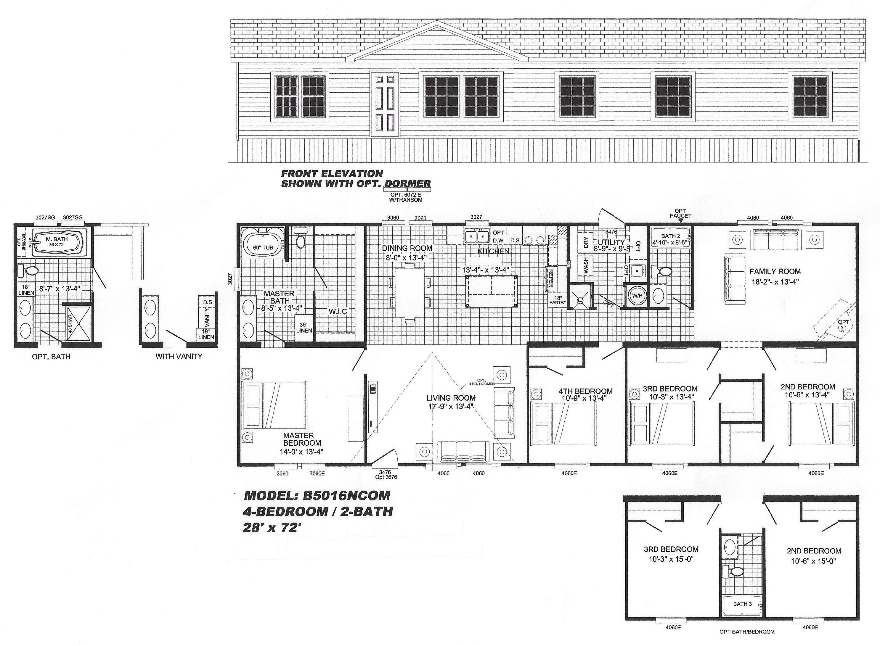 4 bedroom floor plan b 5016 hawks homes manufactured for 4 bedroom mobile home floor plans