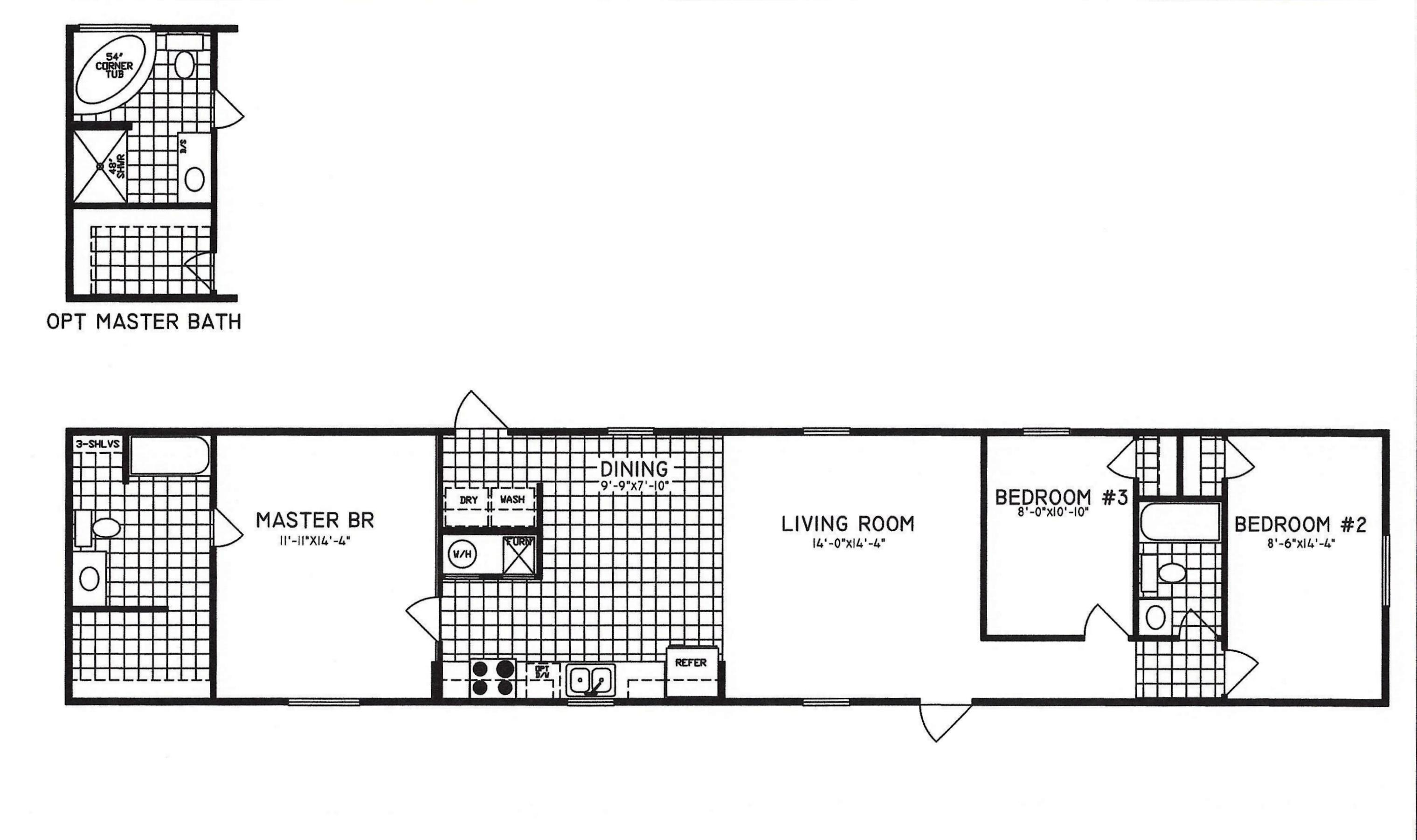 3 Bedroom Floor Plan C 8001 Hawks Homes Manufactured