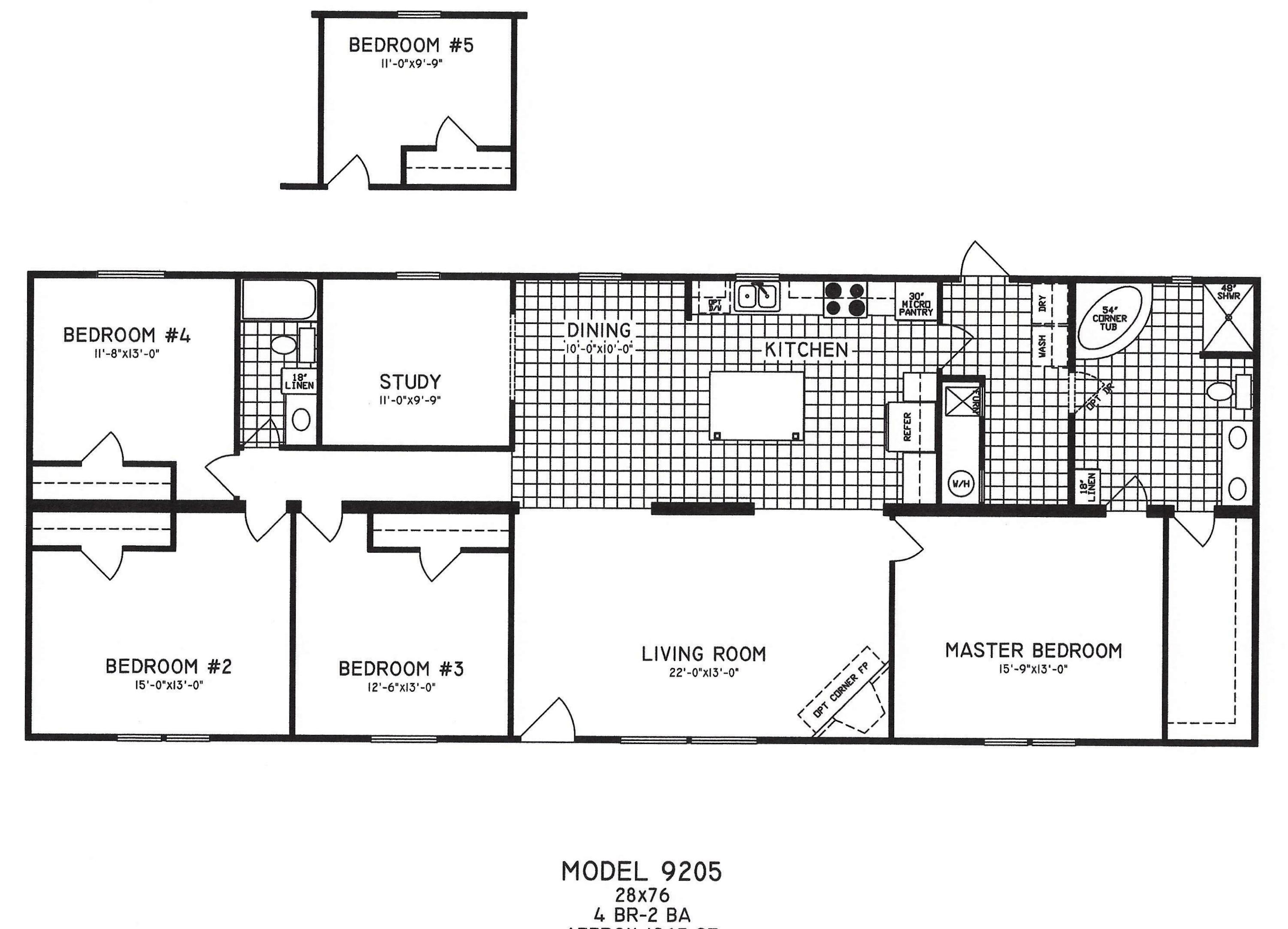 4 bedroom floor plan c 9205 hawks homes manufactured for Mobile home house plans
