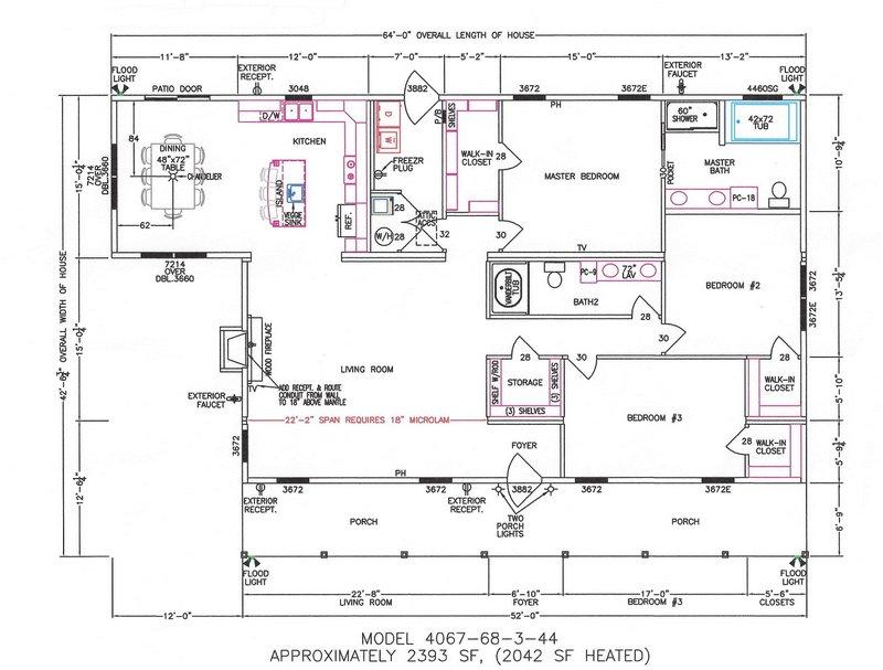 3 bedroom floor plan f 4067 hawks homes manufactured for Arkansas house plans
