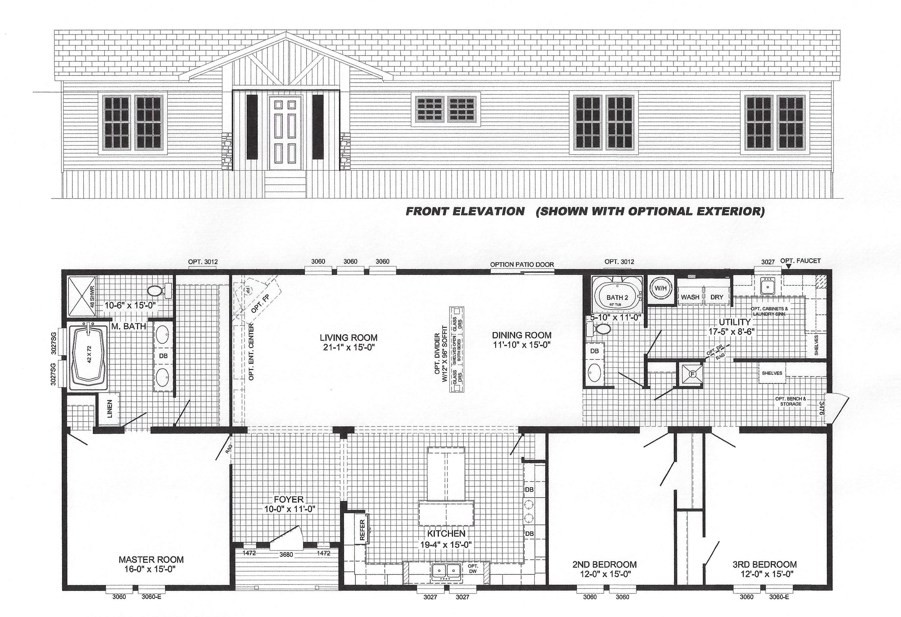 3 bedroom floor plan b 6017 hawks homes manufactured for 3 bedroom modular home floor plans