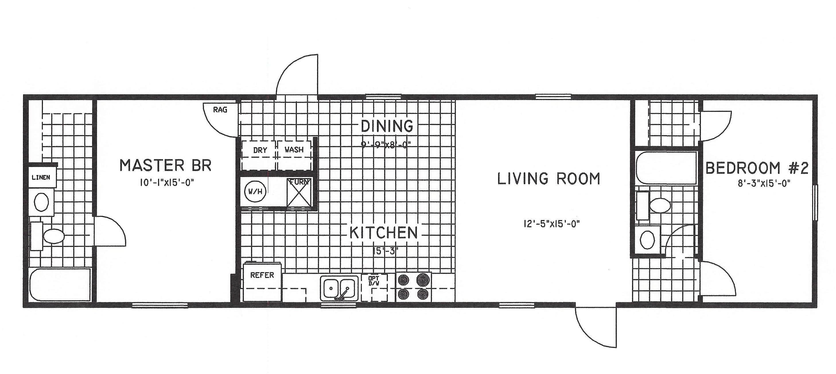 2 Bedroom Floor Plan C 8000 Hawks Homes Manufactured Modular Conway Little Rock Arkansas