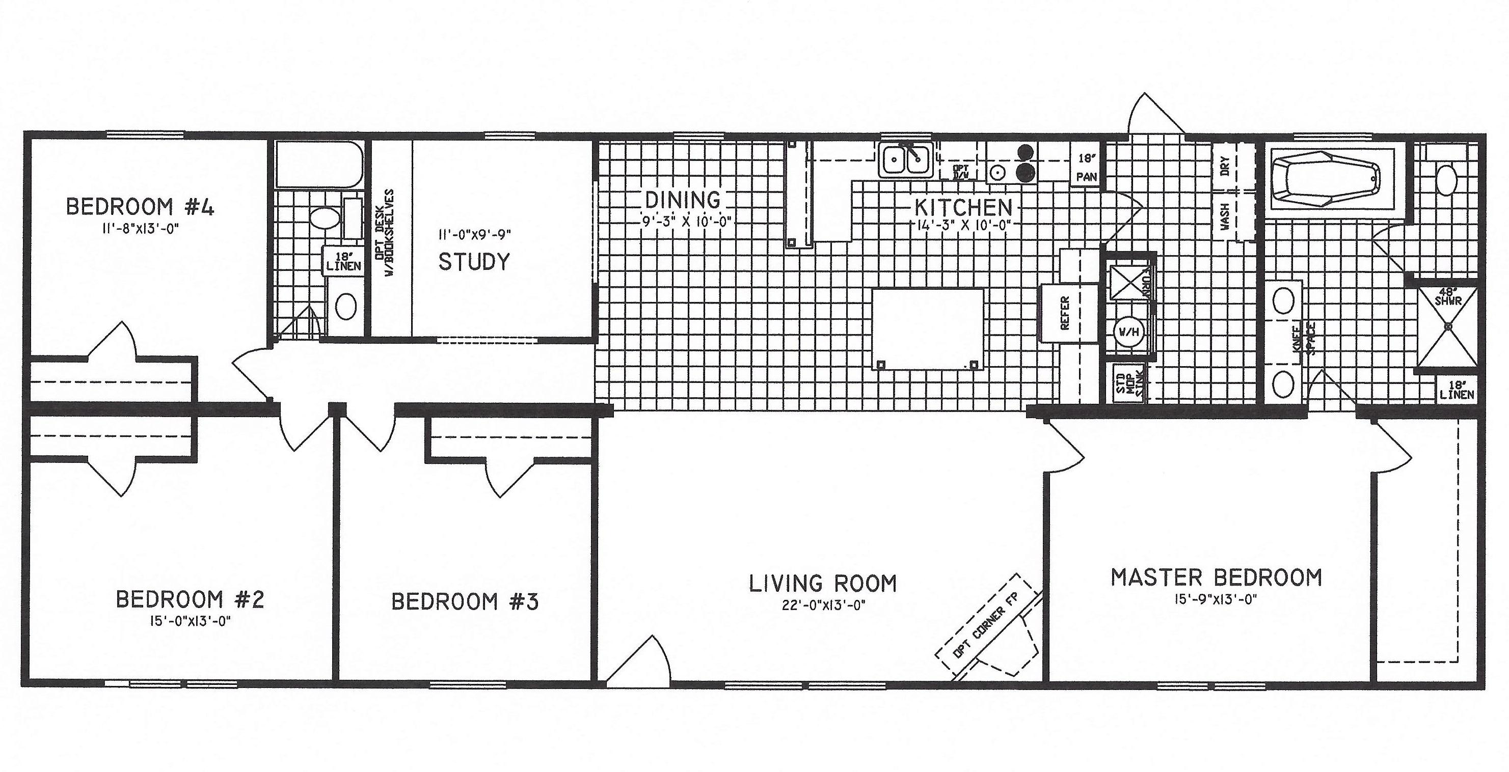 4 bedroom floor plan c 9207 hawks homes manufactured newly redesigned 4 bedroom with a large study that can be converted to a 5th bedroom open layout with a large kitchen and living room with a fire place