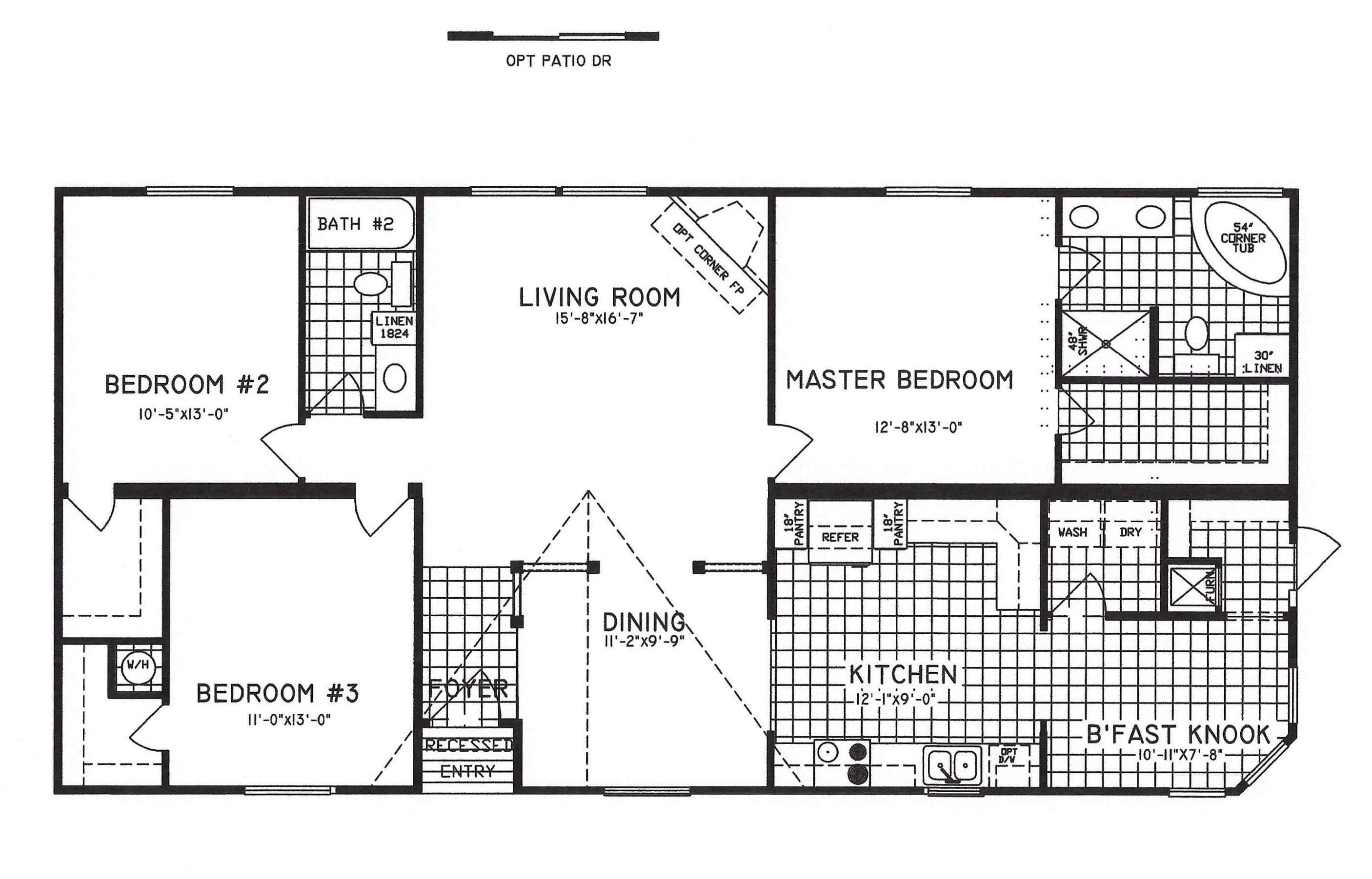 3 bedroom floor plan c 9810 hawks homes manufactured for Arkansas house plans