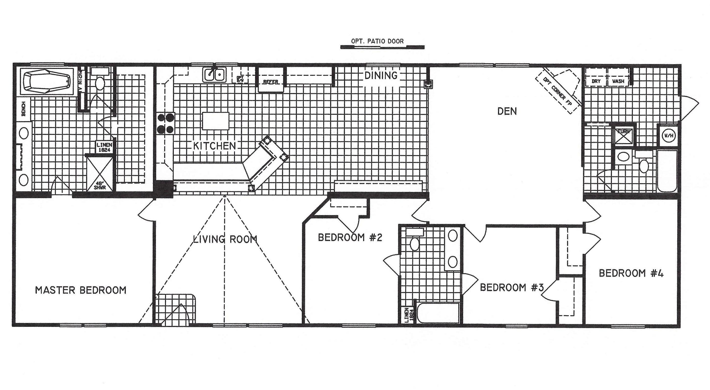 4 bedroom floor plan c 9916 hawks homes manufactured for Arkansas house plans