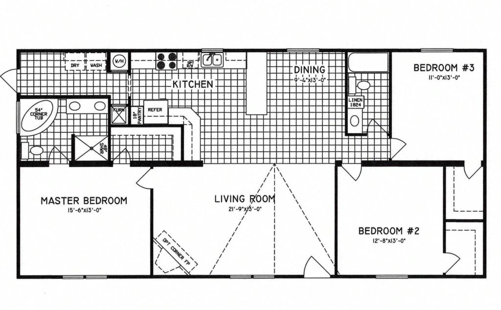 3 Bedroom Floor Plan C 9809 Hawks Homes Manufactured