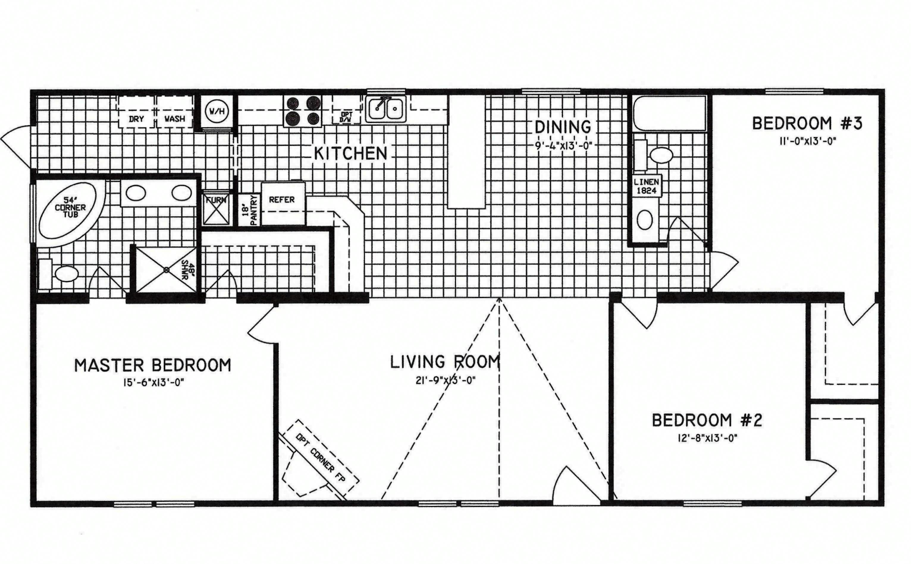 3 bedroom floor plan c 9809 hawks homes manufactured for Two kitchen house plans