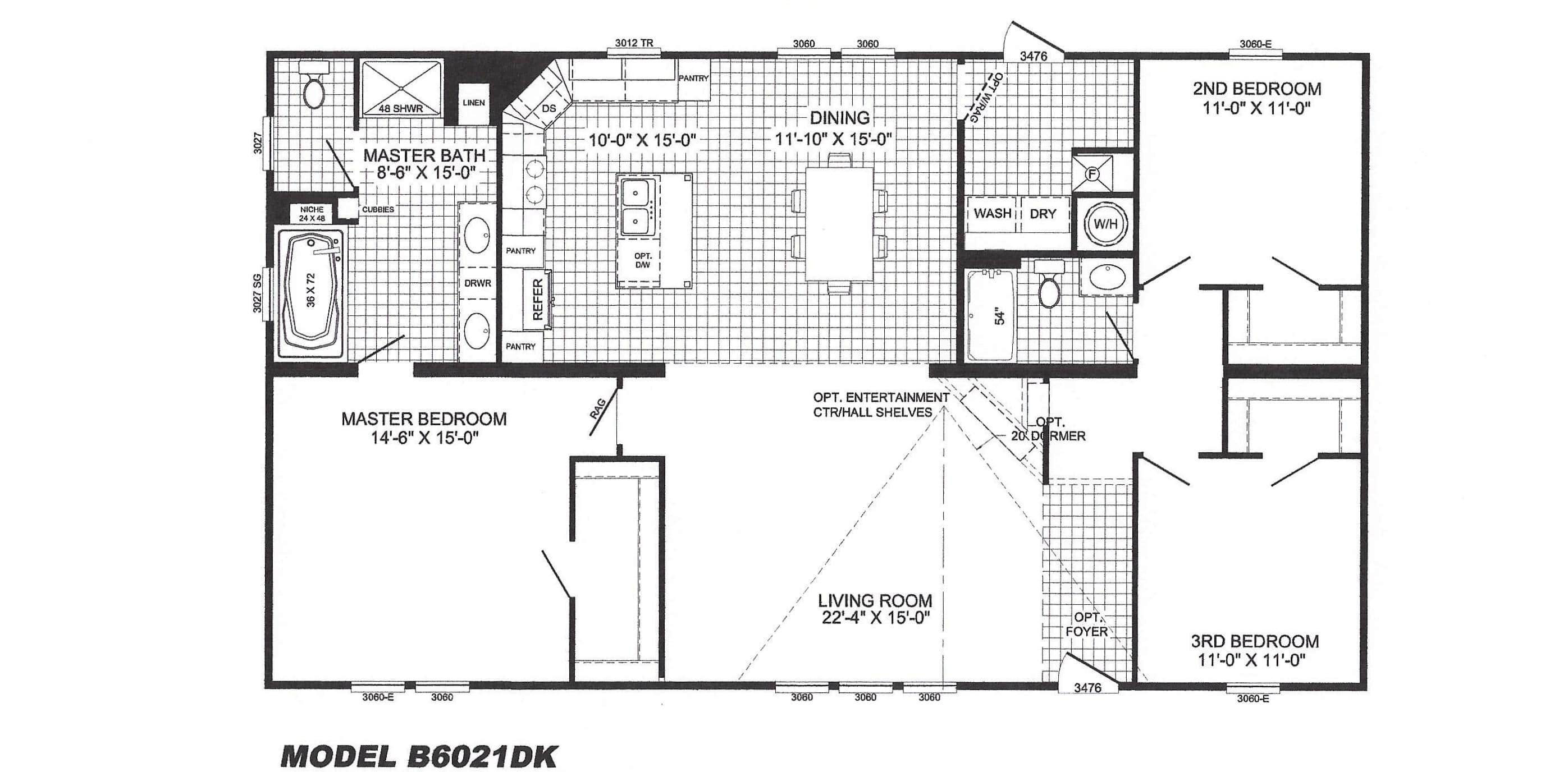 3 bedroom floor plan b 6021 hawks homes manufactured for 10 foot ceiling house plans