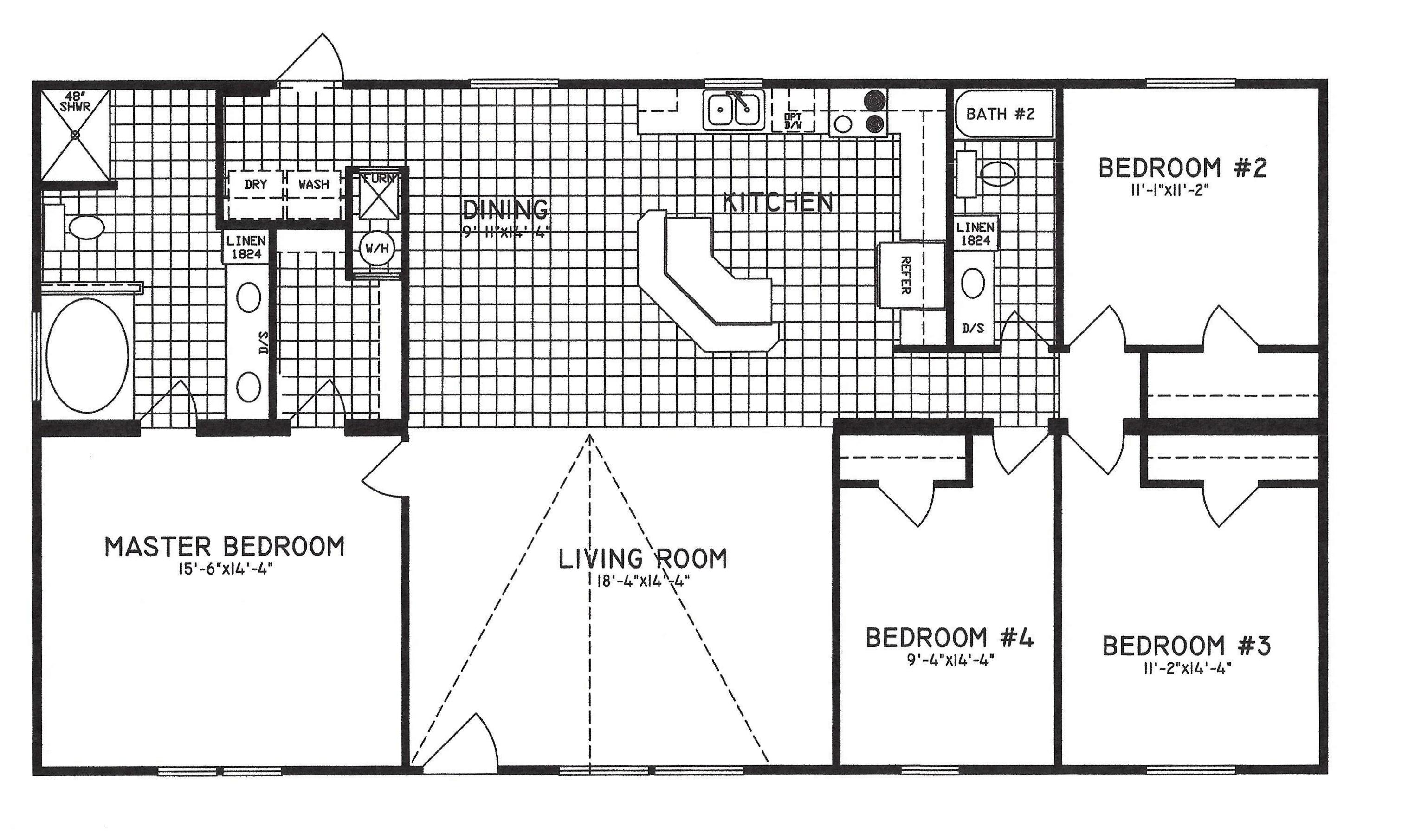 4 Bedroom Floor Plan C 9301 Hawks Homes Manufactured