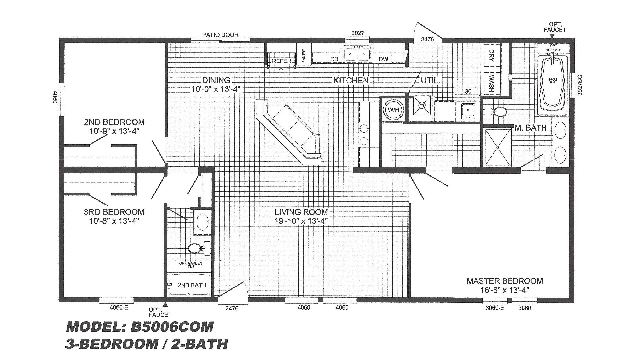 3 bedroom floor plan b 5006 hawks homes manufactured 3 bedroom modular home floor plans
