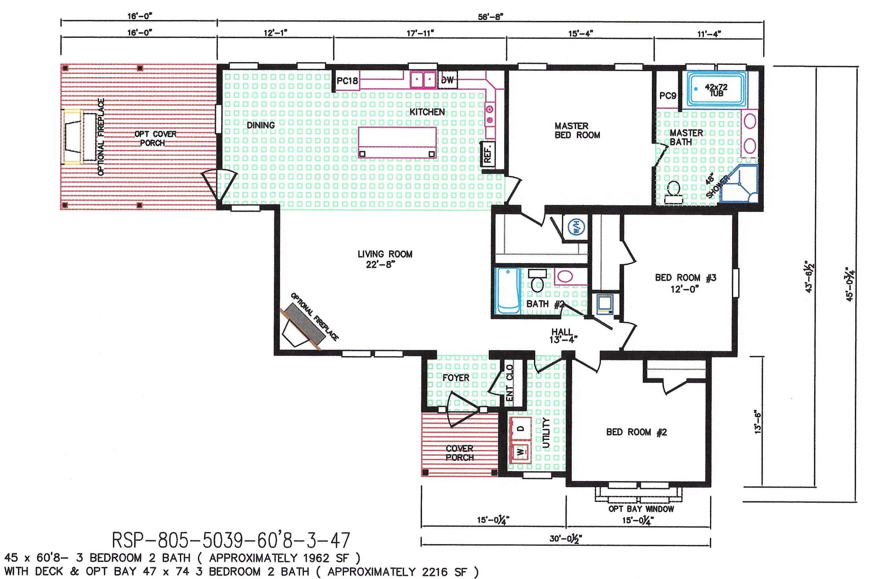 3 bedroom floor plan f 5039 hawks homes manufactured for 3 bedroom modular home floor plans
