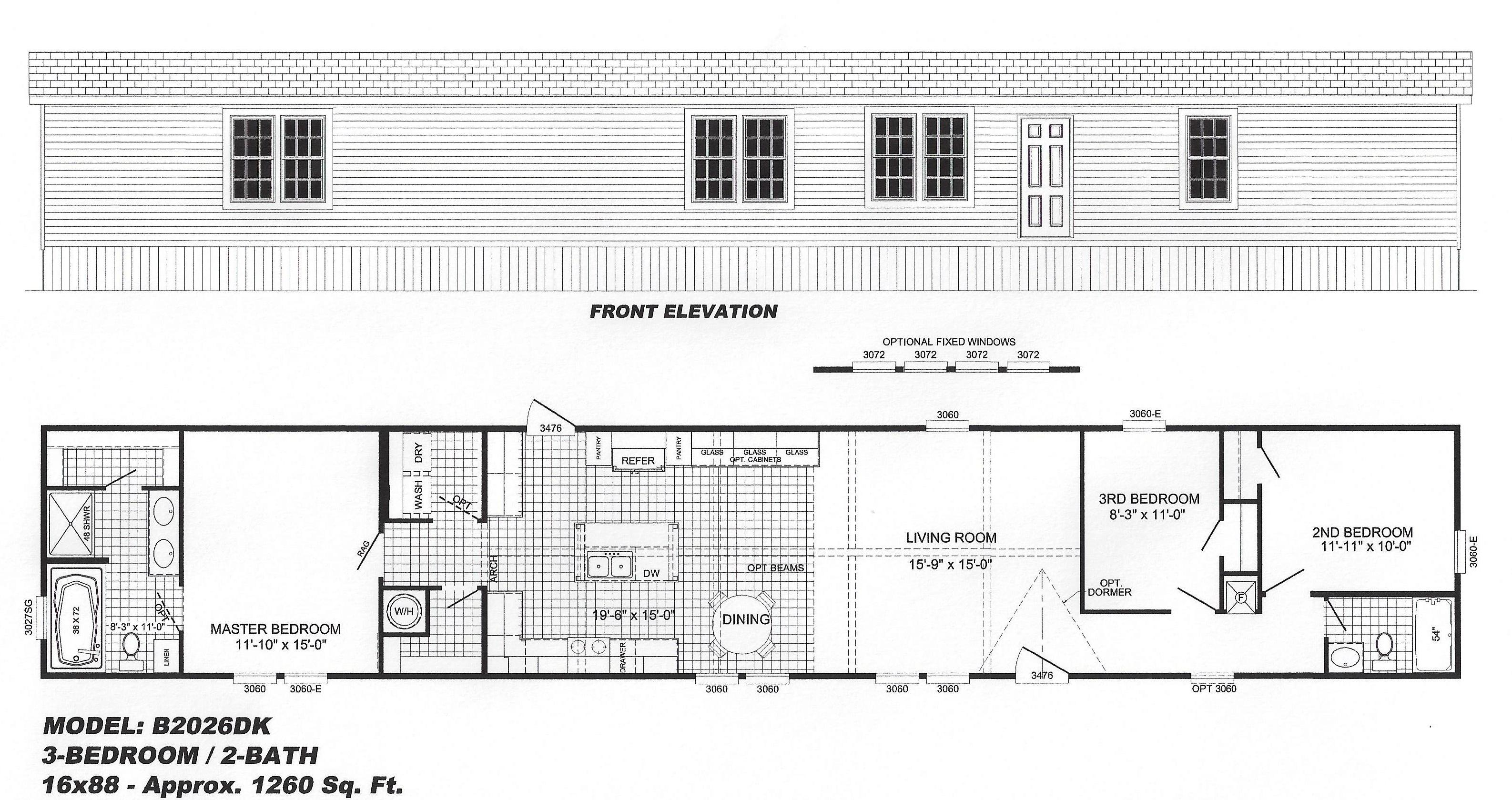 3 bedroom floor plan b2026  hawks homes  manufactured