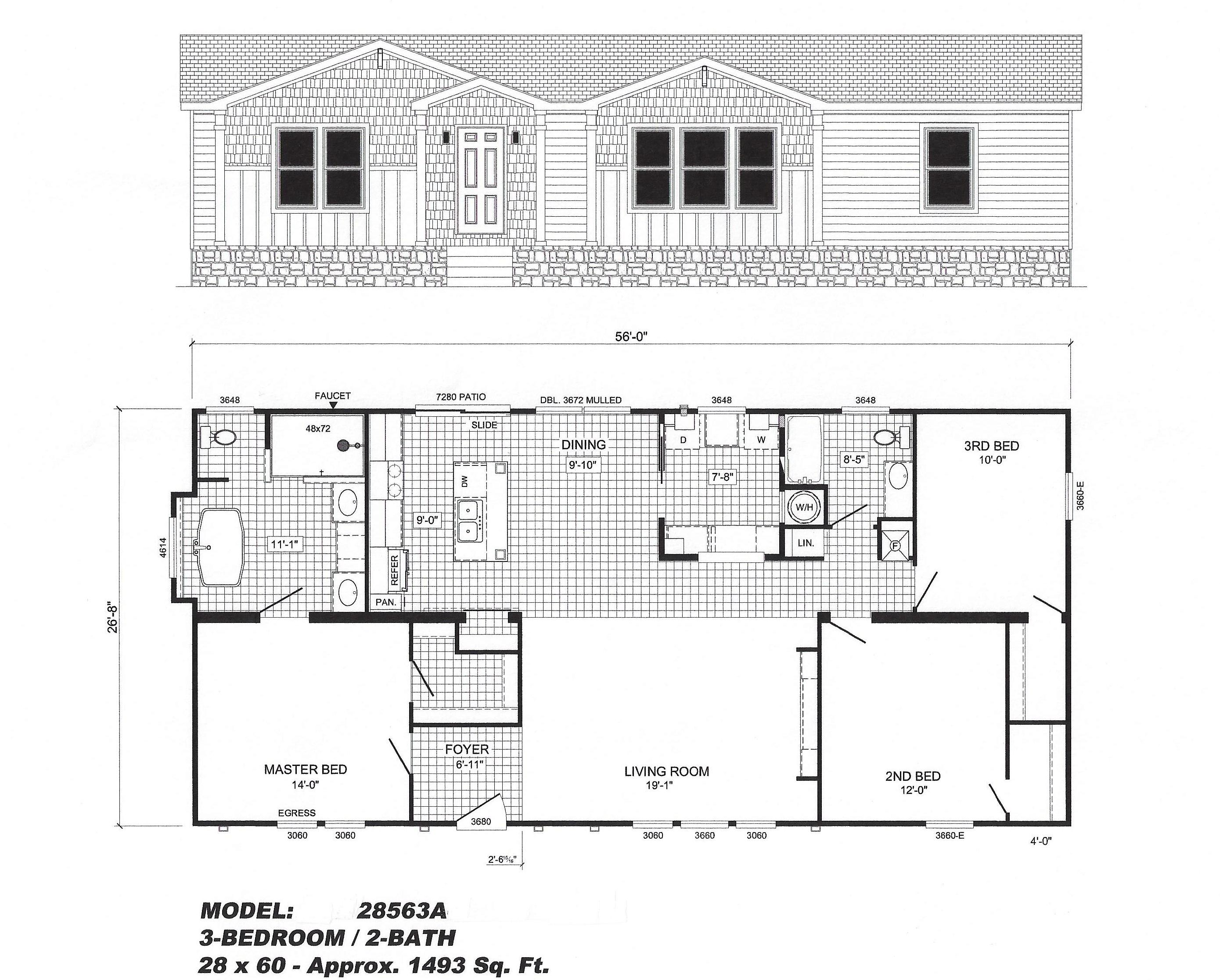 3 bedroom floor plan b 2856 the washington hawks homes for Washington house plans