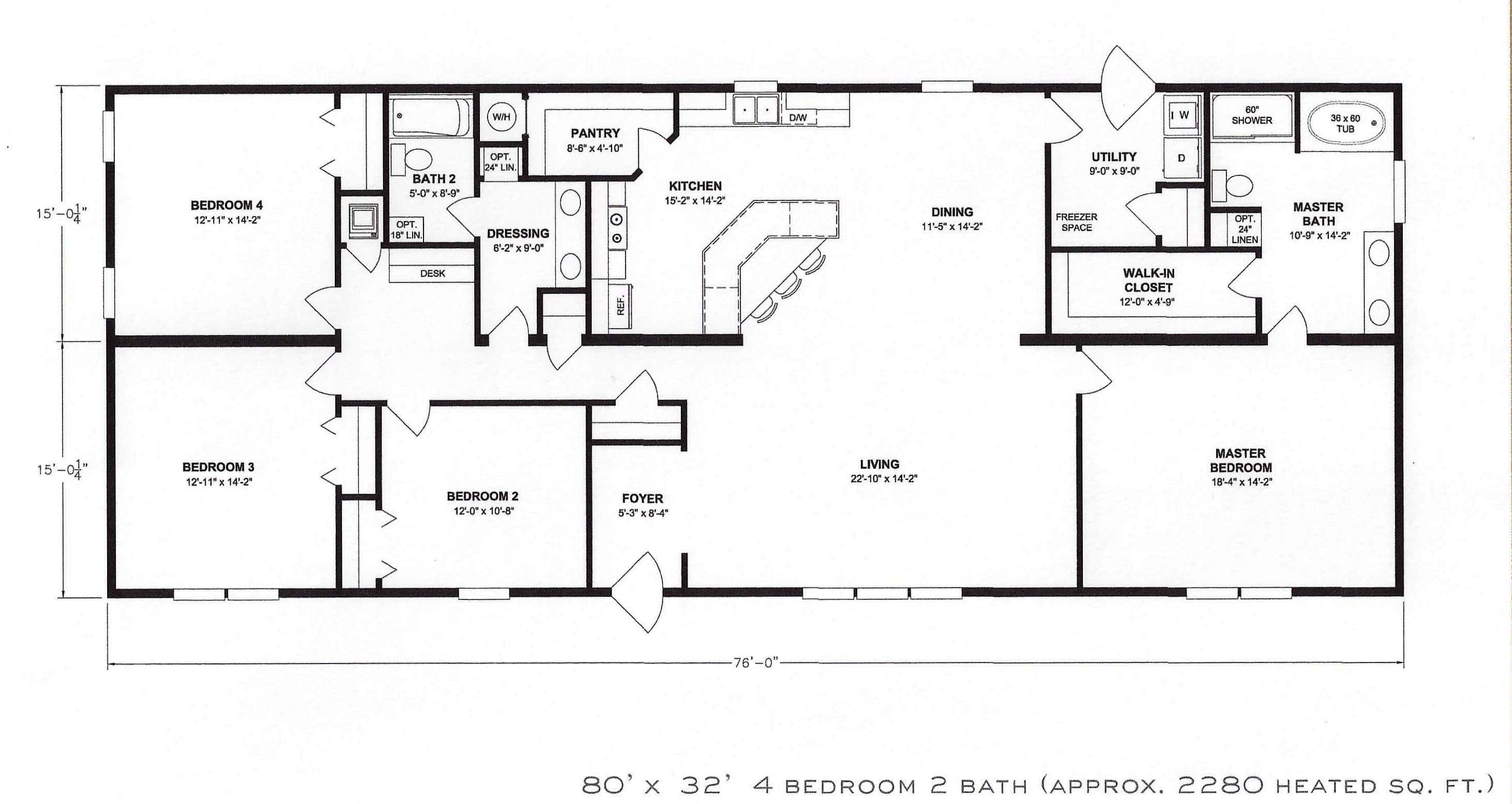 4 bedroom floor plan f 1001 hawks homes manufactured for Four room house plan