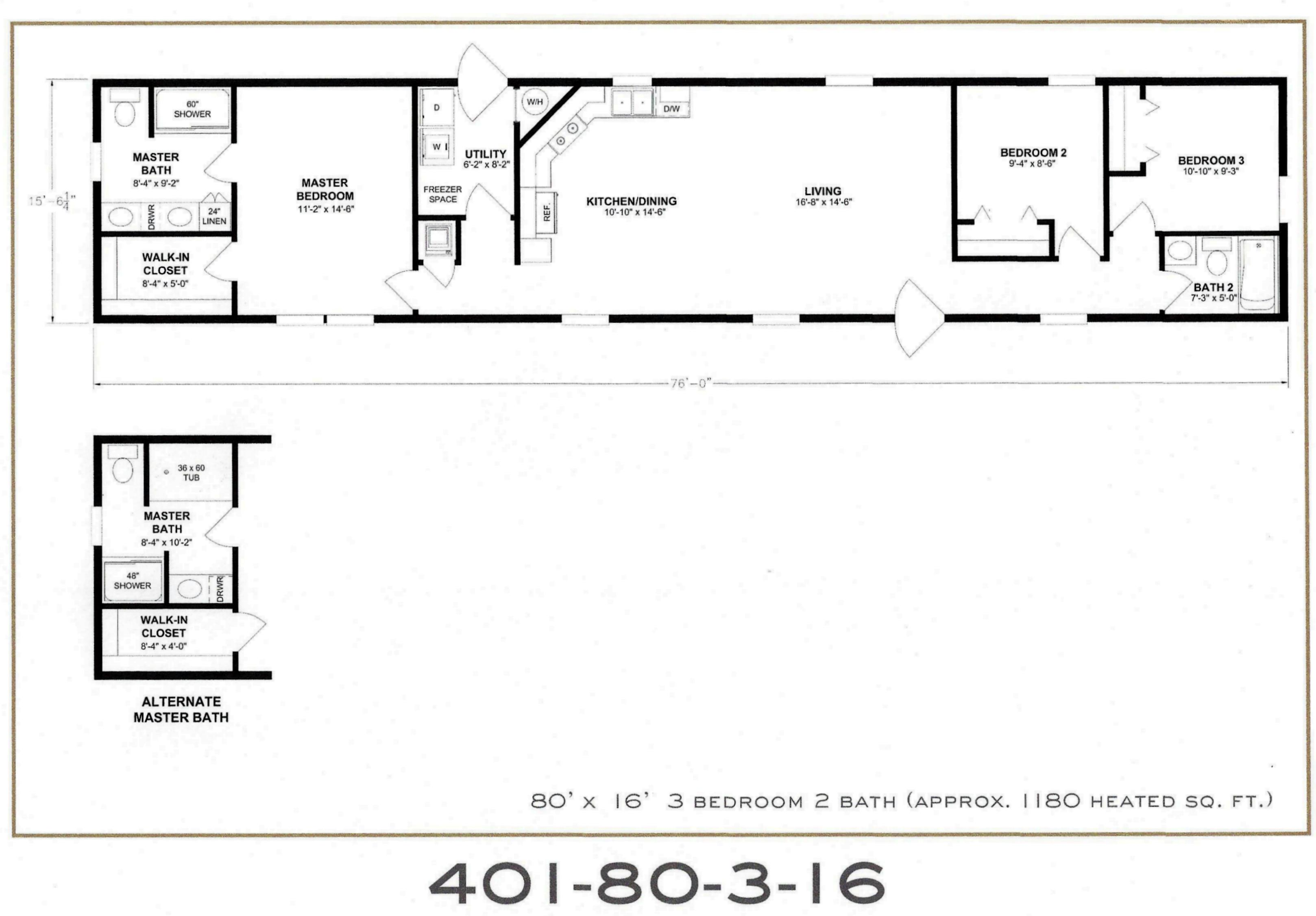 3 Bedroom Floor Plan F 401 Hawks Homes Manufactured