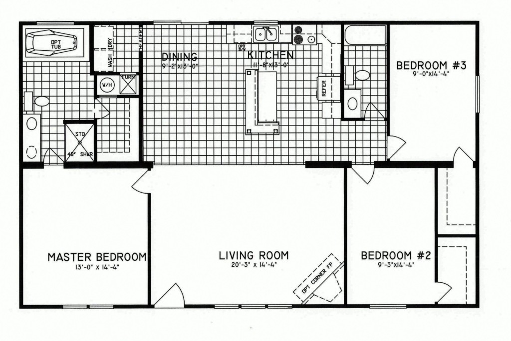 3 bedroom floor plan c 8206 hawks homes manufactured for 3 bedroom 2 bath double wide floor plans