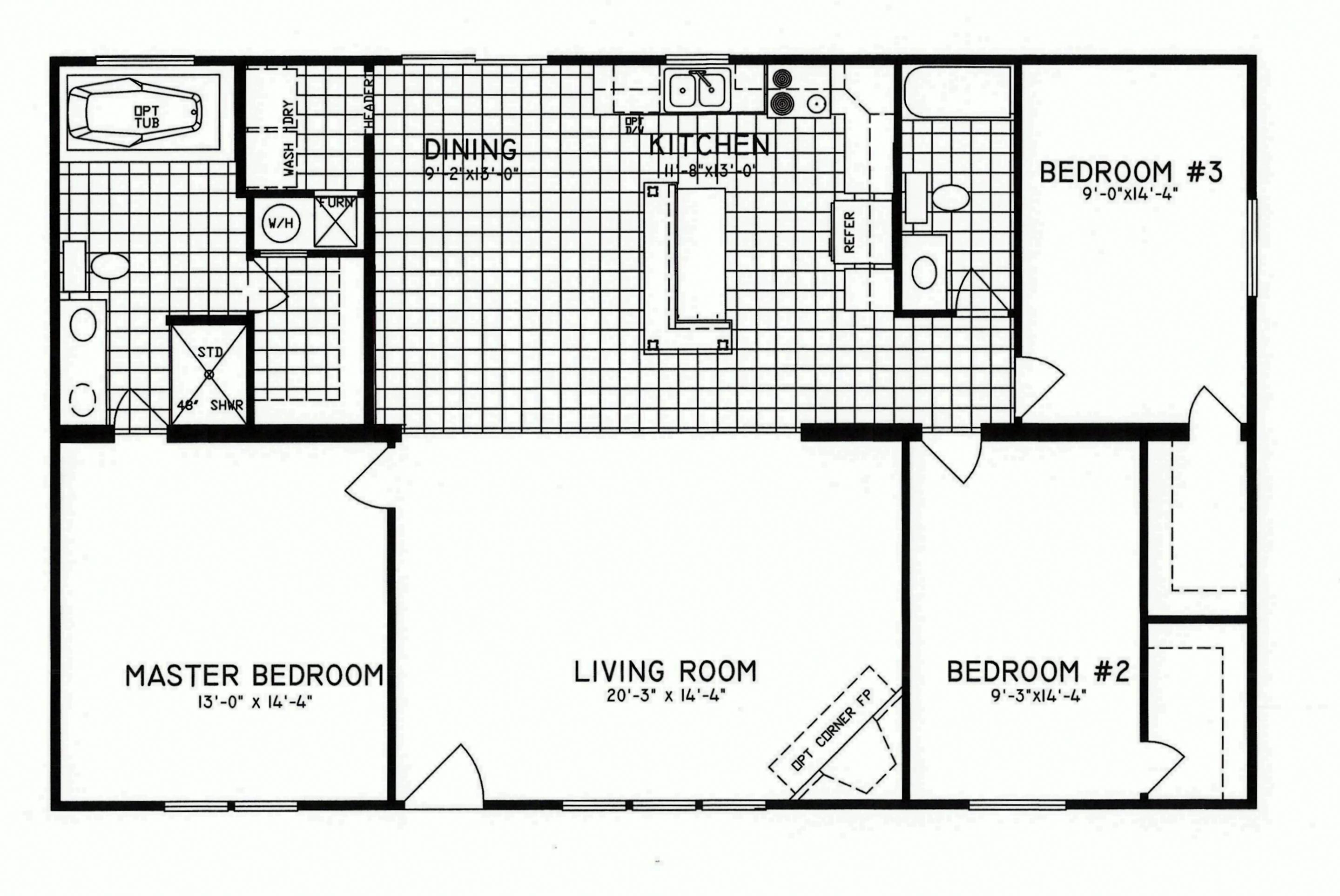 3 bedroom floor plan c 8206 hawks homes manufactured for 3 bedroom modular home floor plans
