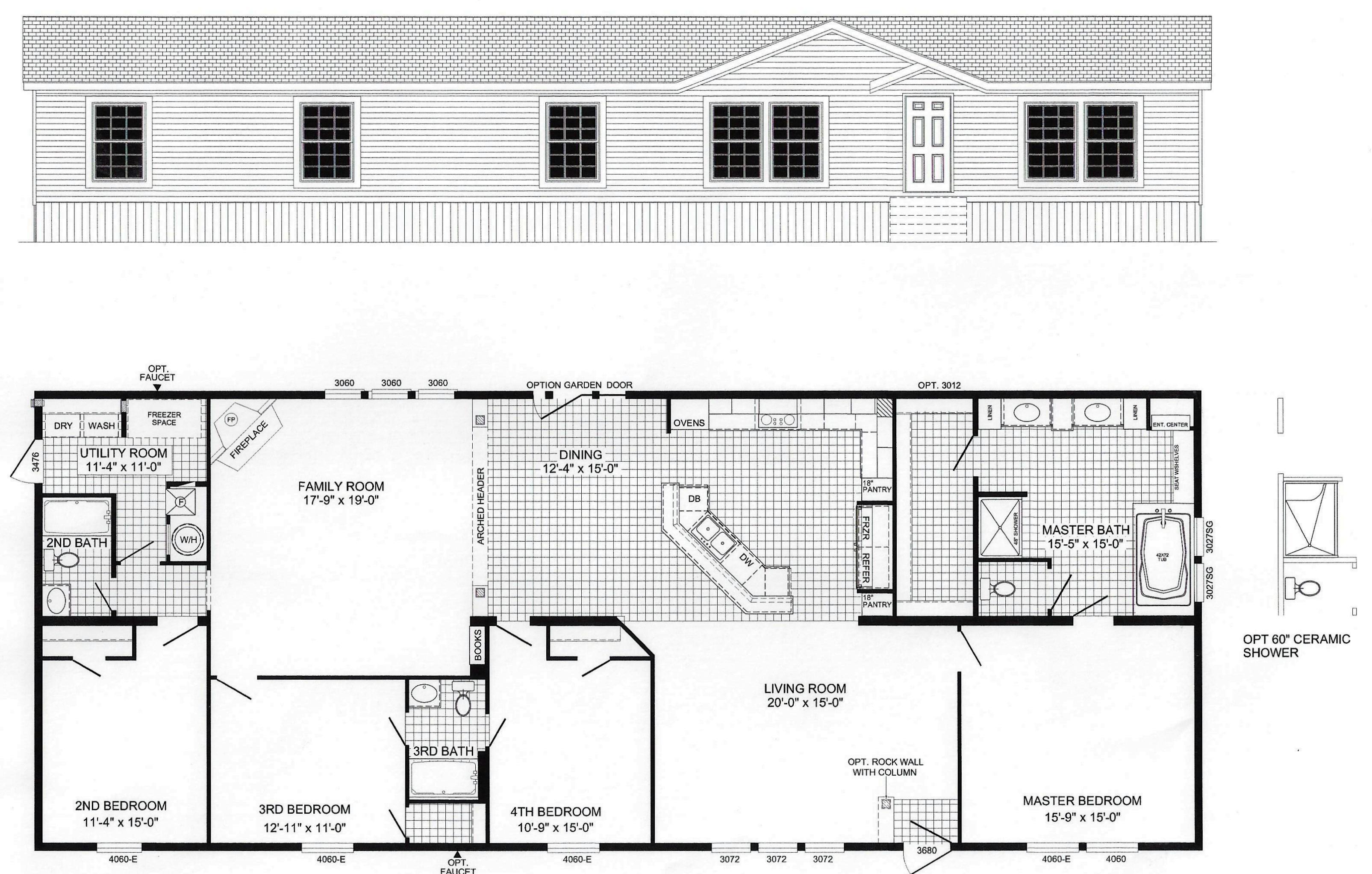 4 bedroom floor plan b 6010 hawks homes manufactured for Arkansas house plans