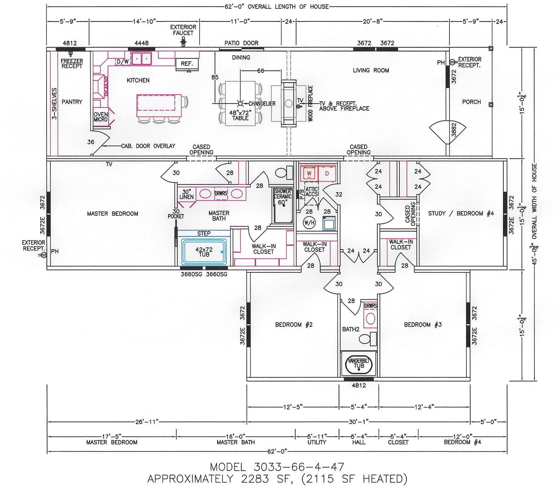 4 bedroom floor plan f 3033 hawks homes manufactured for Arkansas house plans