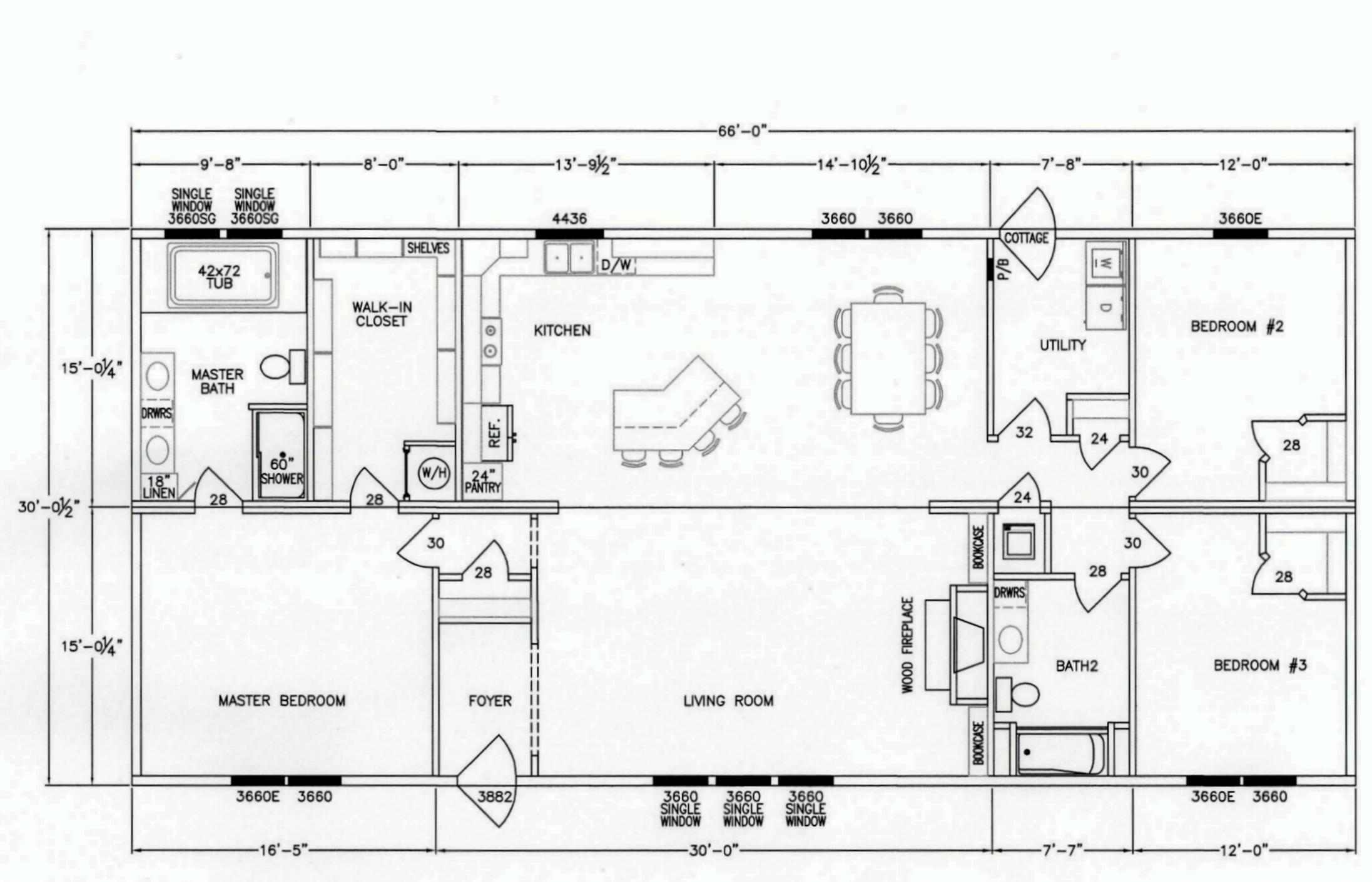 3 bedroom floor plan f 1002 hawks homes manufactured