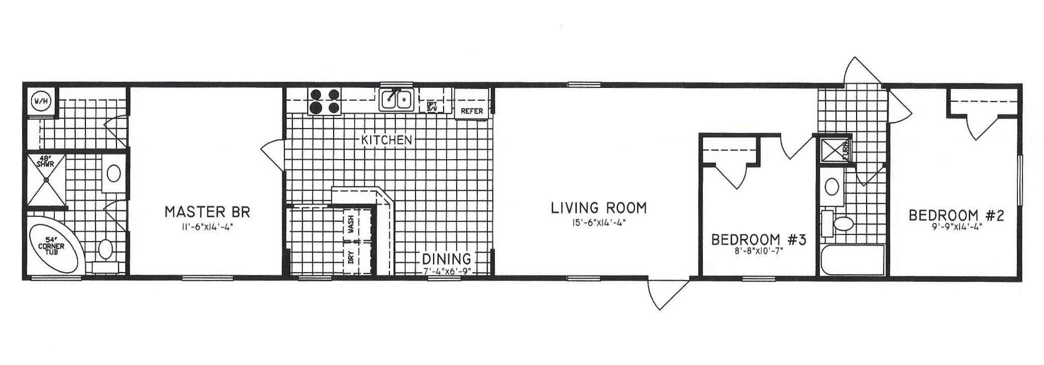 C 9719 hawks homes manufactured modular conway 3 bedroom modular home floor plans
