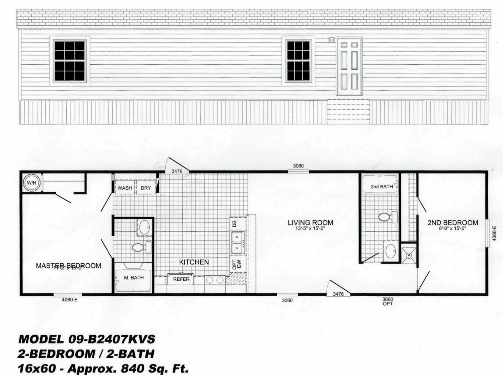 2 bedroom floor plan b 2407 hawks homes manufactured for Arkansas house plans