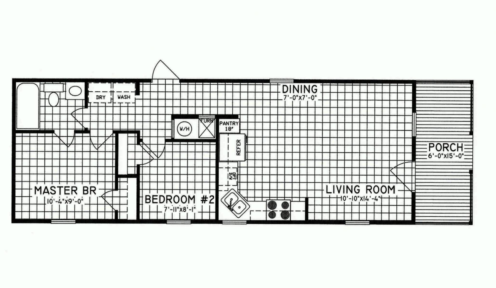 2 bedroom floor plan c 7101 hawks homes manufactured for 2 bedroom mobile home floor plans