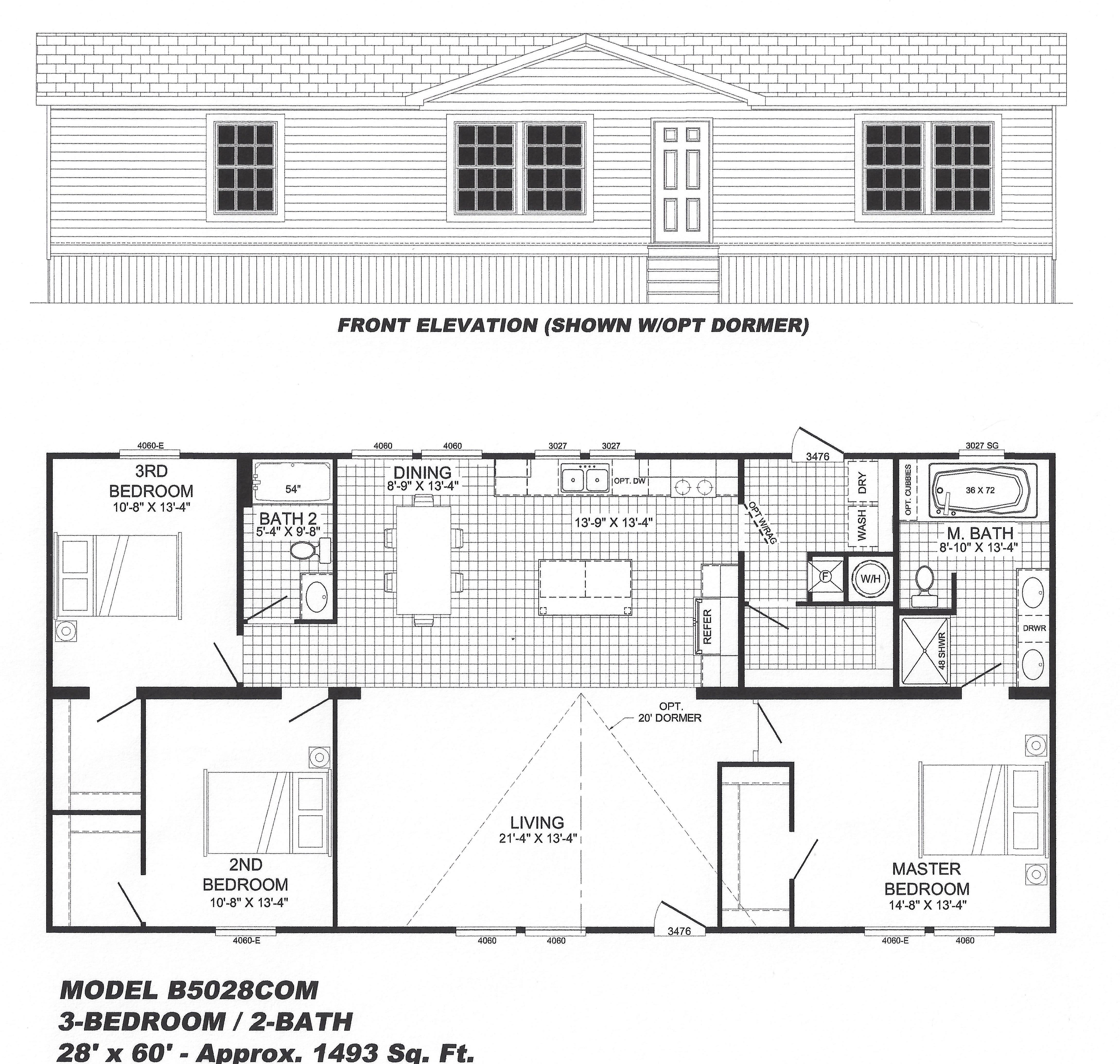 Three Bedroom Mobile Home Floor Plans: 3 Bedroom Floor Plan: B-5028 - Hawks Homes